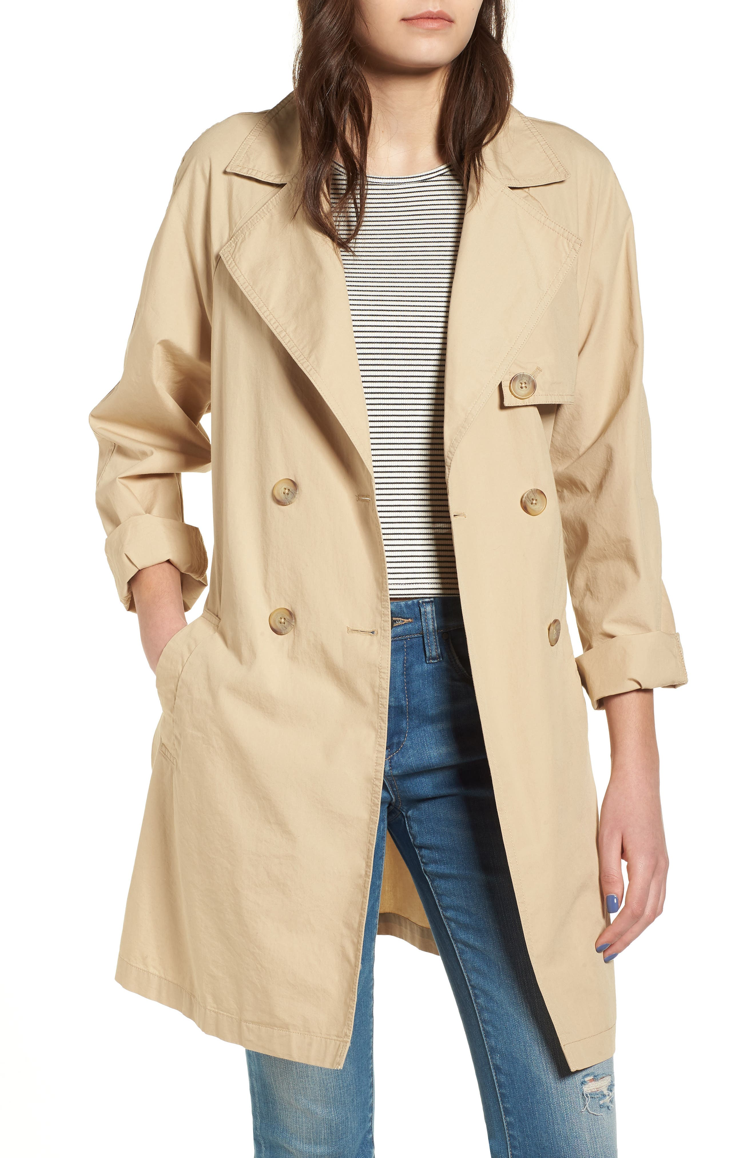 Double Breasted Belted Trench Coat,                         Main,                         color, Beige Nougat