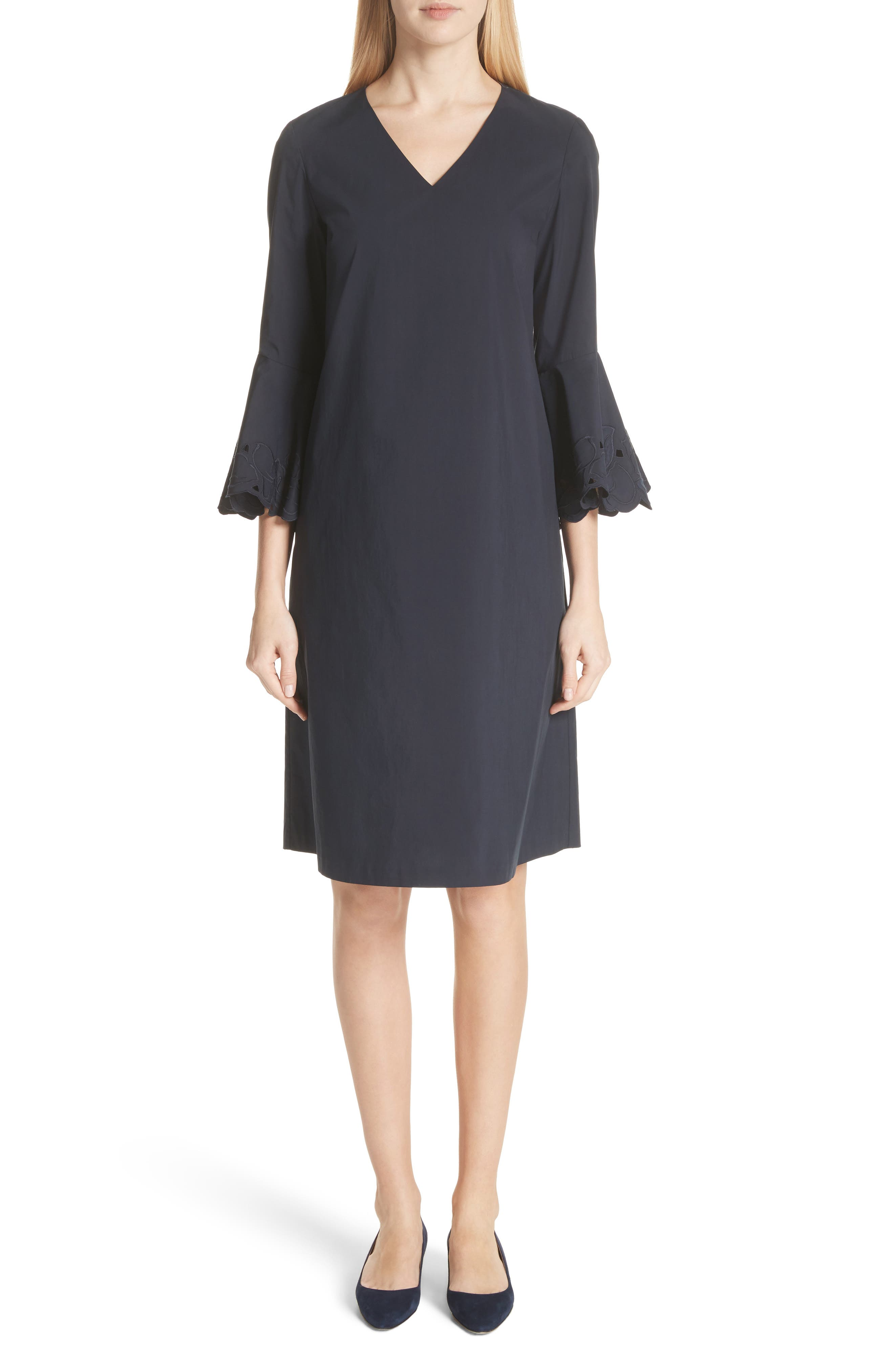 Holly Flare Cuff Dress,                             Main thumbnail 1, color,                             Ink