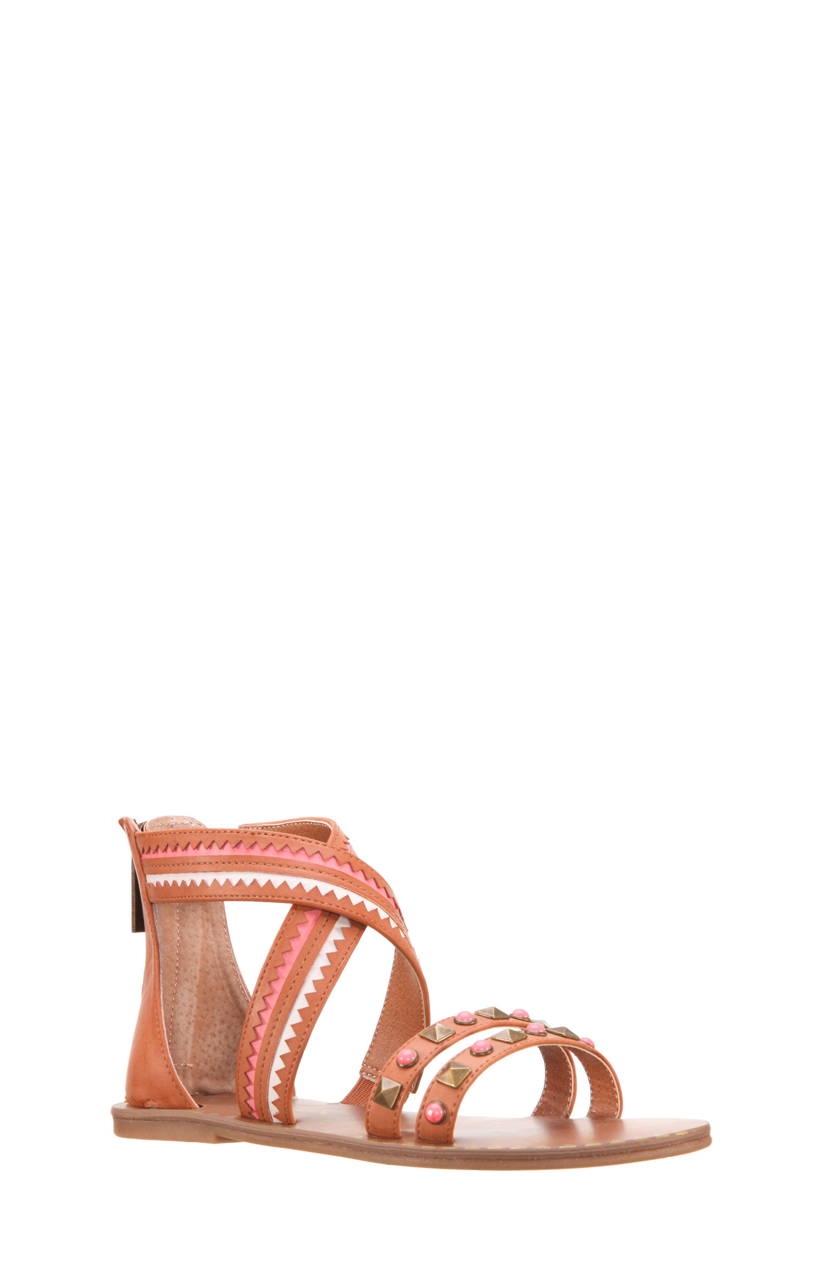 Phelisha Embellished Gladiator Sandal,                             Main thumbnail 1, color,                             Tan Burnished