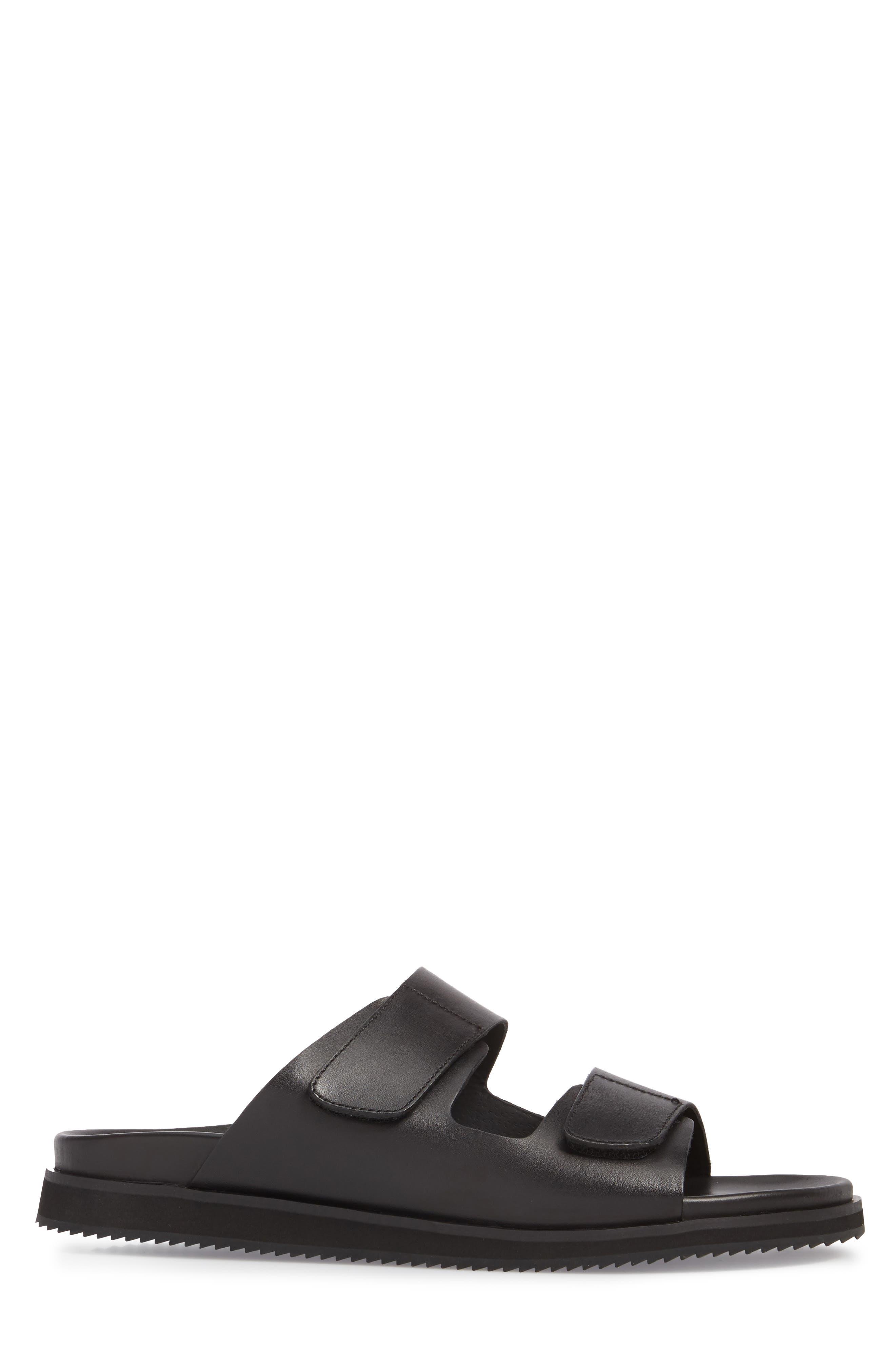 Story Slide Sandal,                             Alternate thumbnail 3, color,                             Black Leather