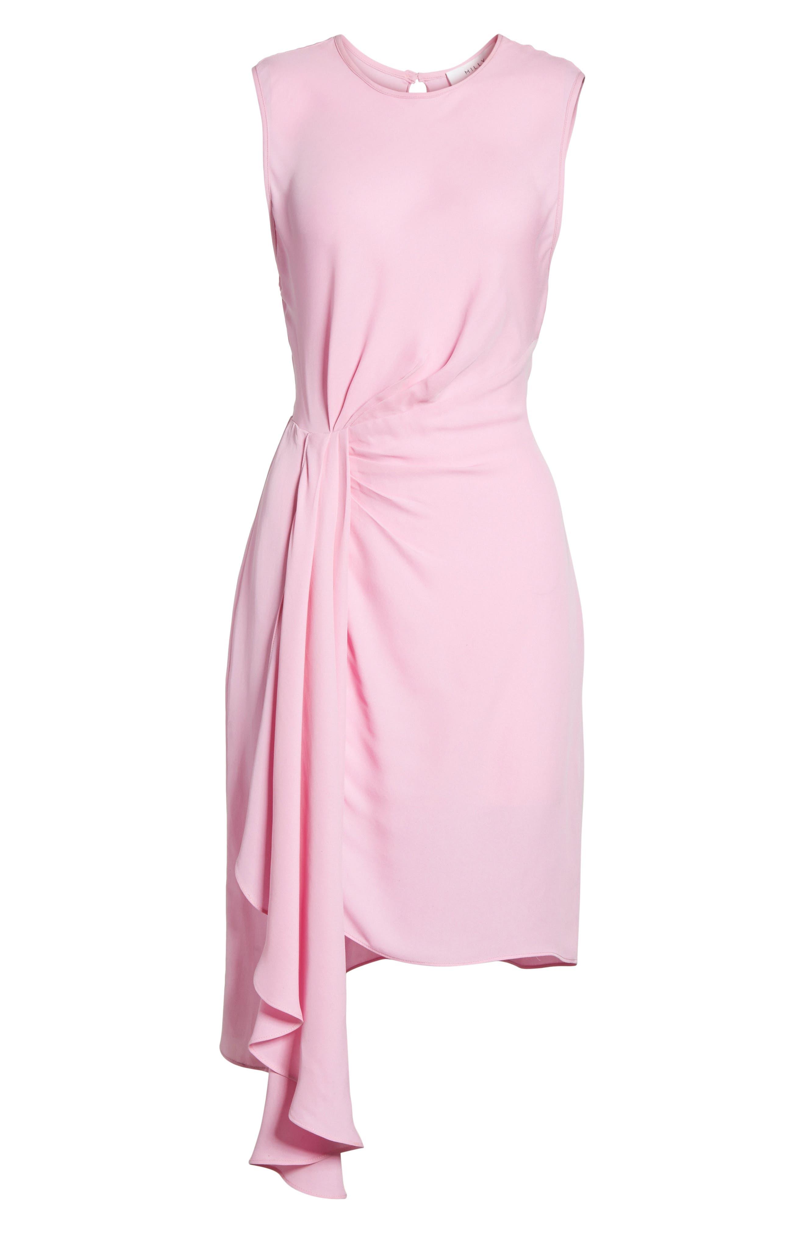 Rachael Front Drape Dress,                             Alternate thumbnail 6, color,                             Bubblegum