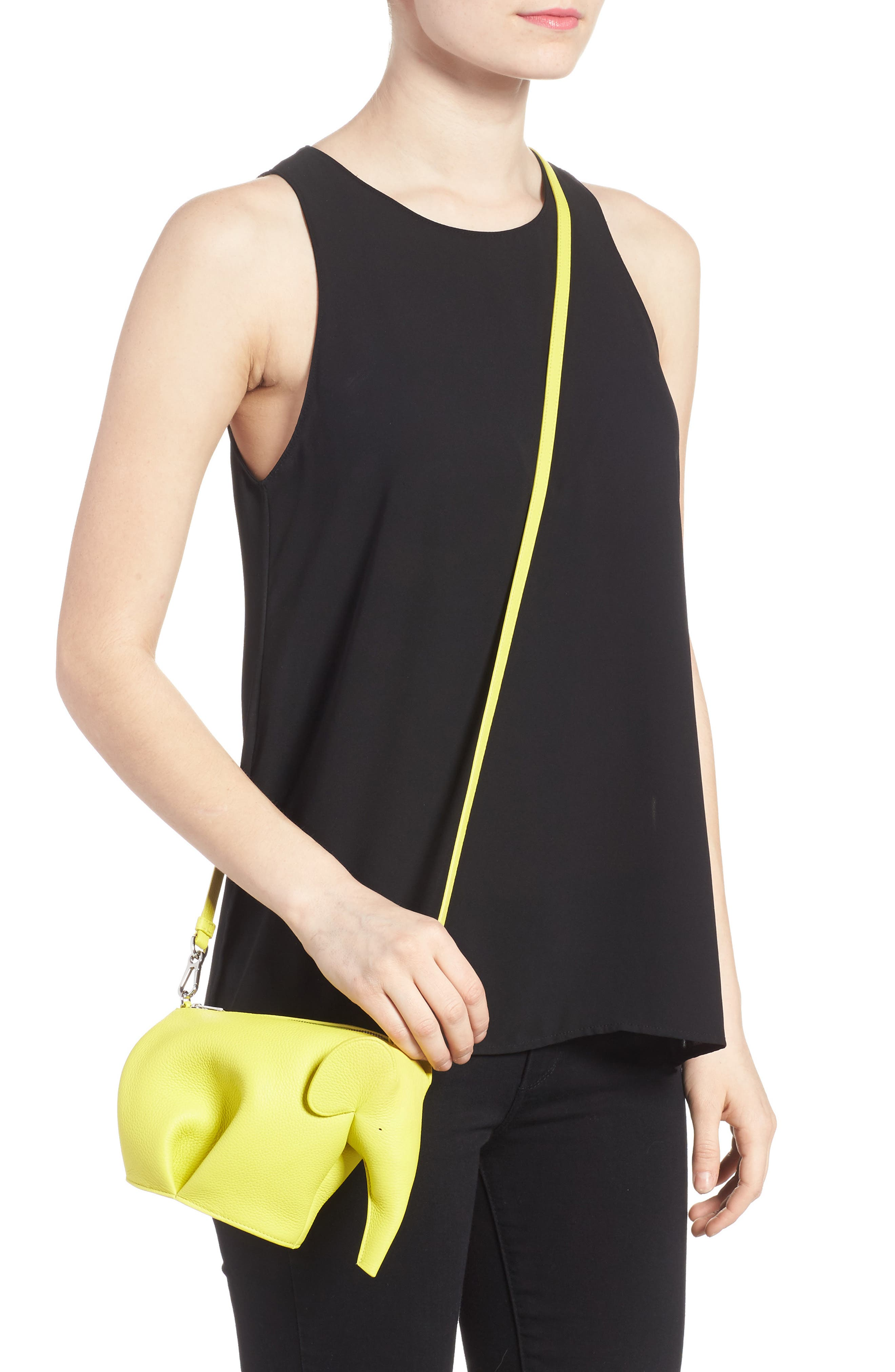 Mini Elephant Calfskin Crossbody Bag,                             Alternate thumbnail 2, color,                             Yellow Lemon