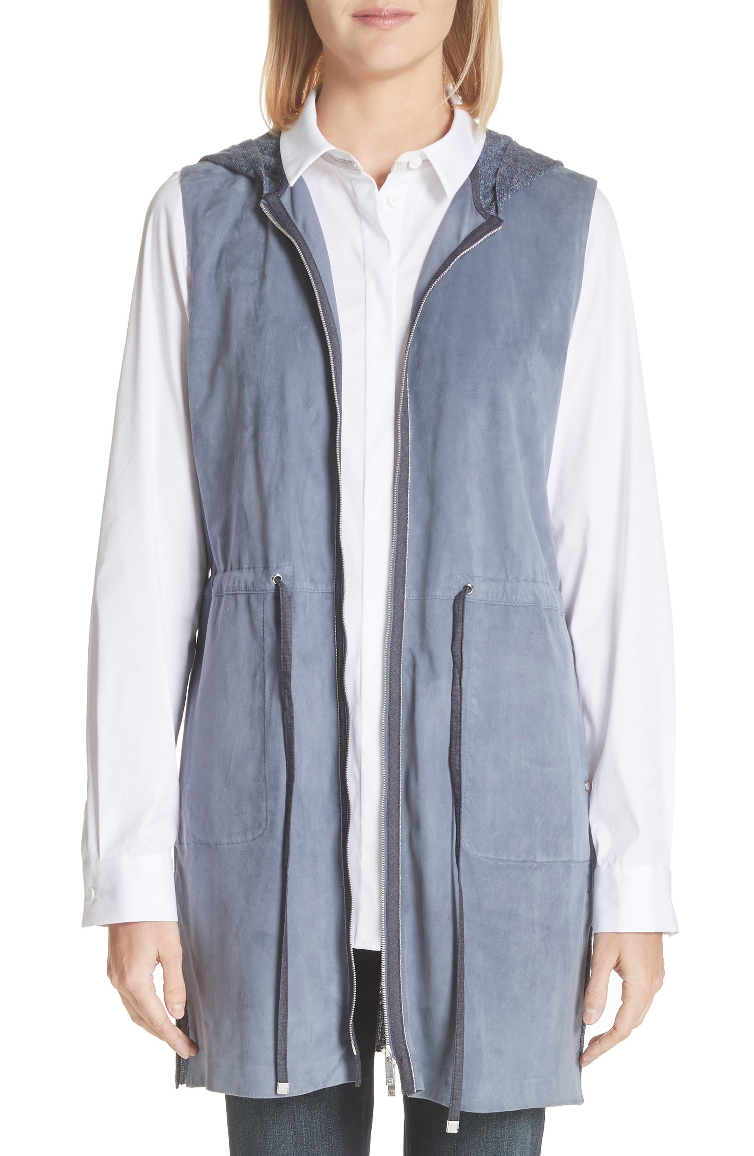 Salma Suede Front Longline Vest,                         Main,                         color, Celestial Blue