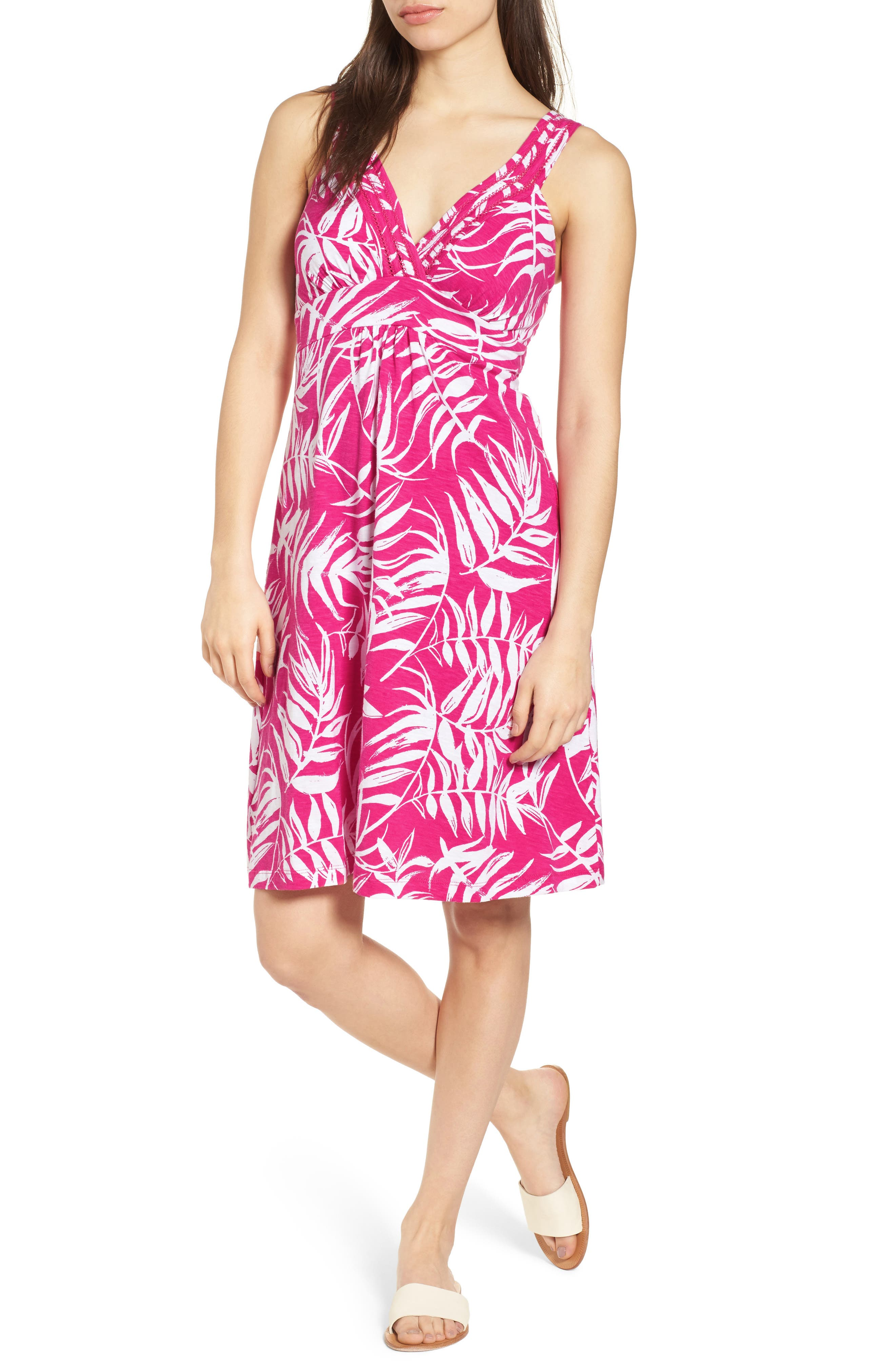 Fronds with Benefits Dress,                             Main thumbnail 1, color,                             Bright Blush