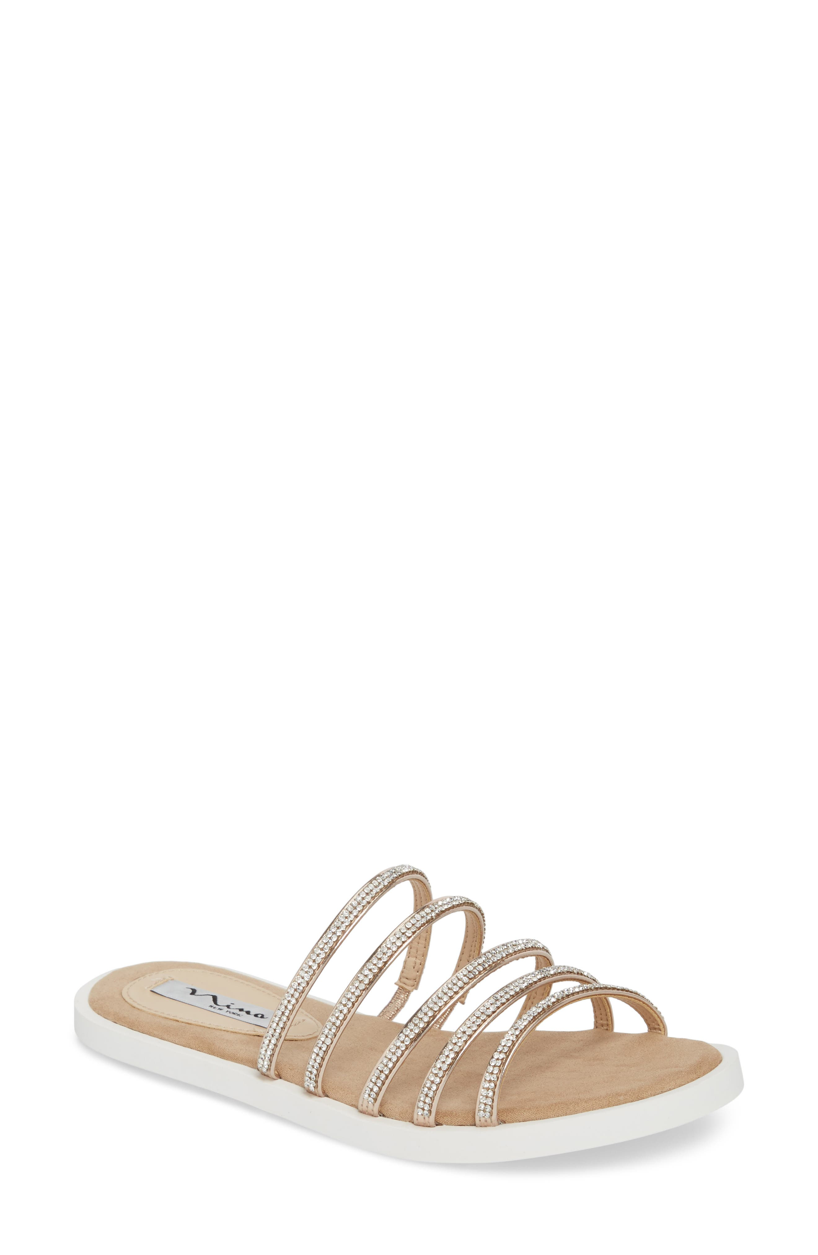 Sabrina Sandal,                             Main thumbnail 1, color,                             Rose Gold Fabric