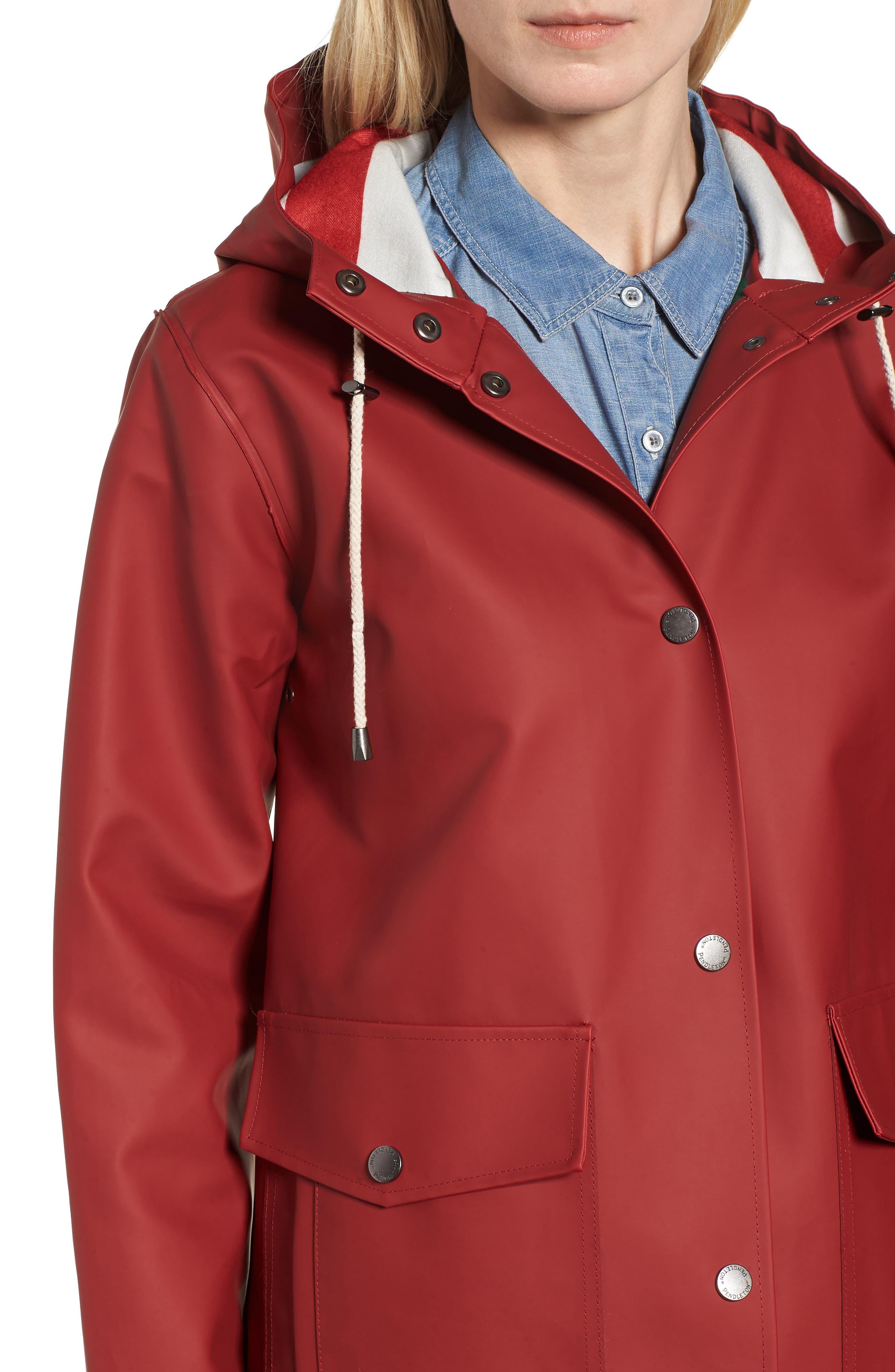 Surrey Hooded Rain Slicker,                             Alternate thumbnail 4, color,                             Red