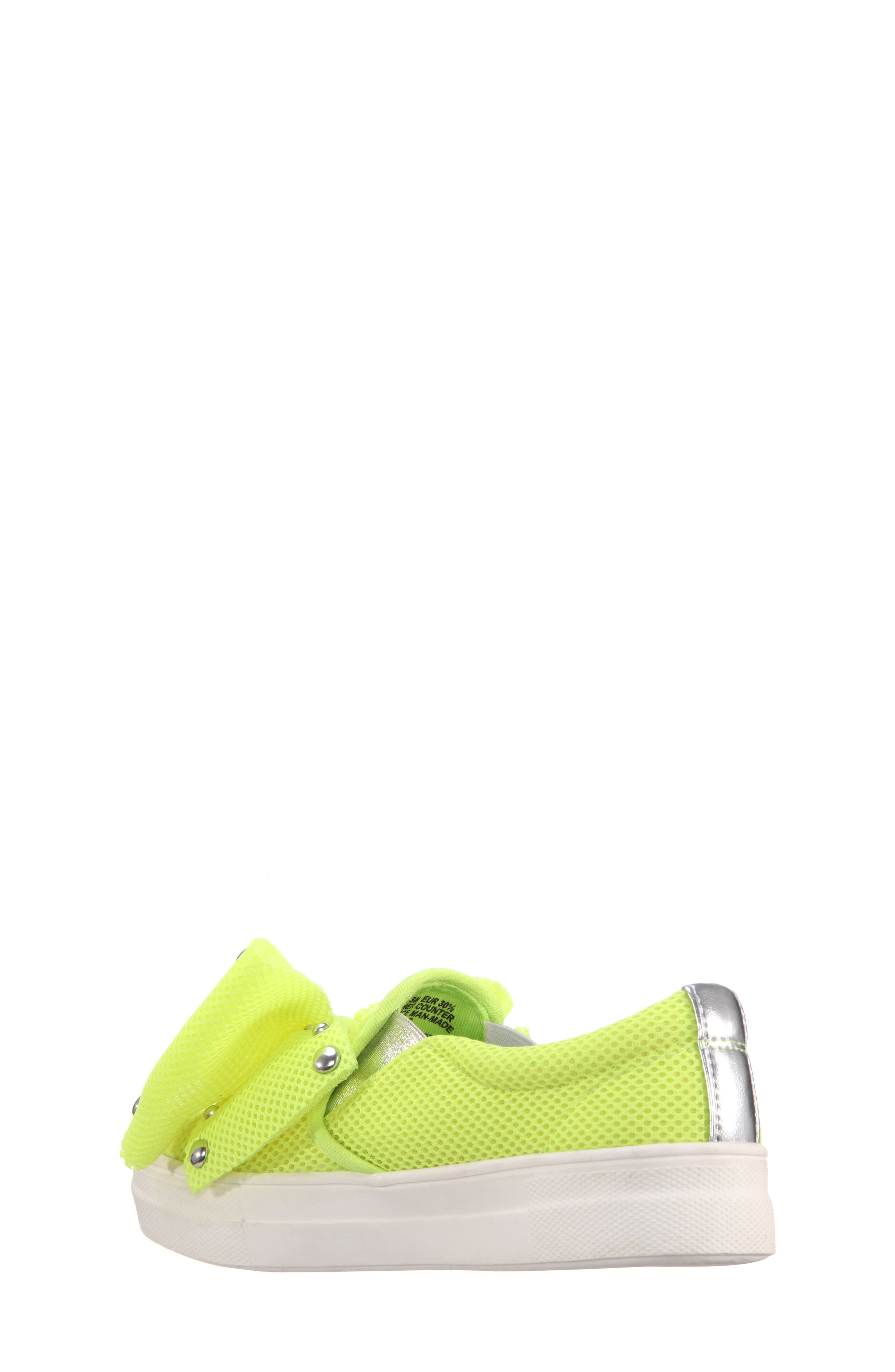 Mary Bow Slip-On Sneaker,                             Alternate thumbnail 2, color,                             Neon Yellow Mesh