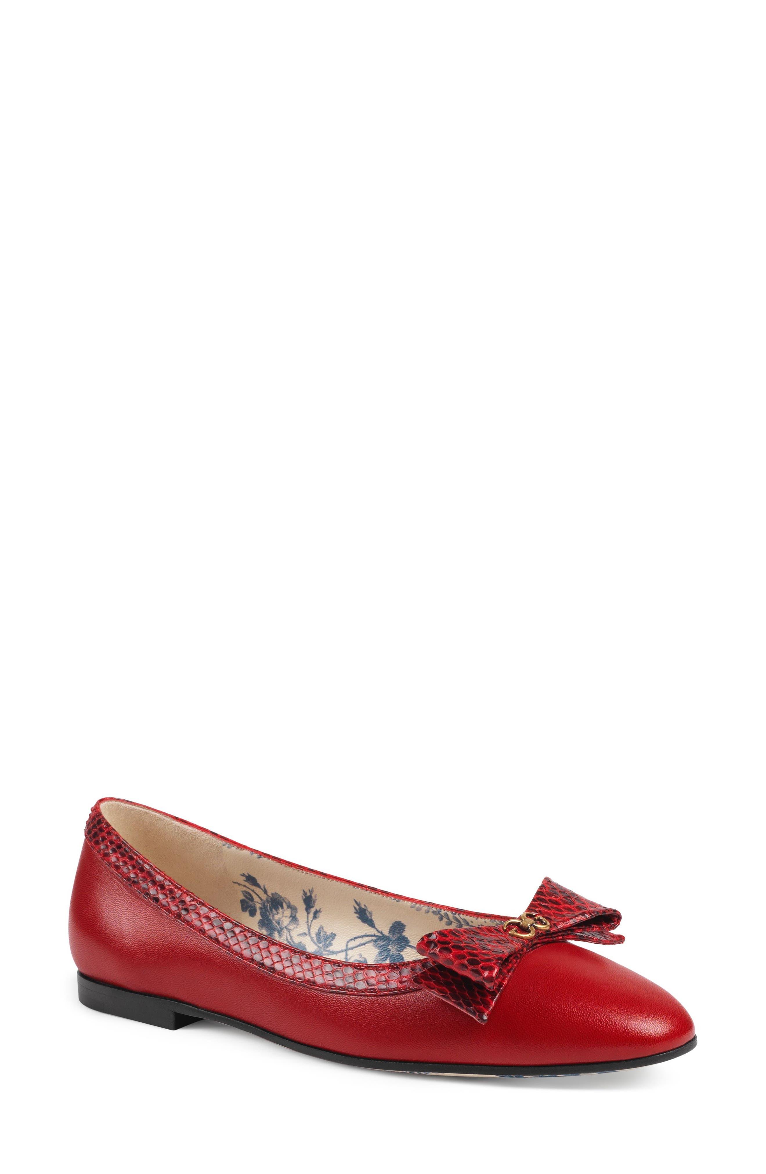 Genuine Snakeskin Trim Ballet Flat,                             Main thumbnail 1, color,                             Red
