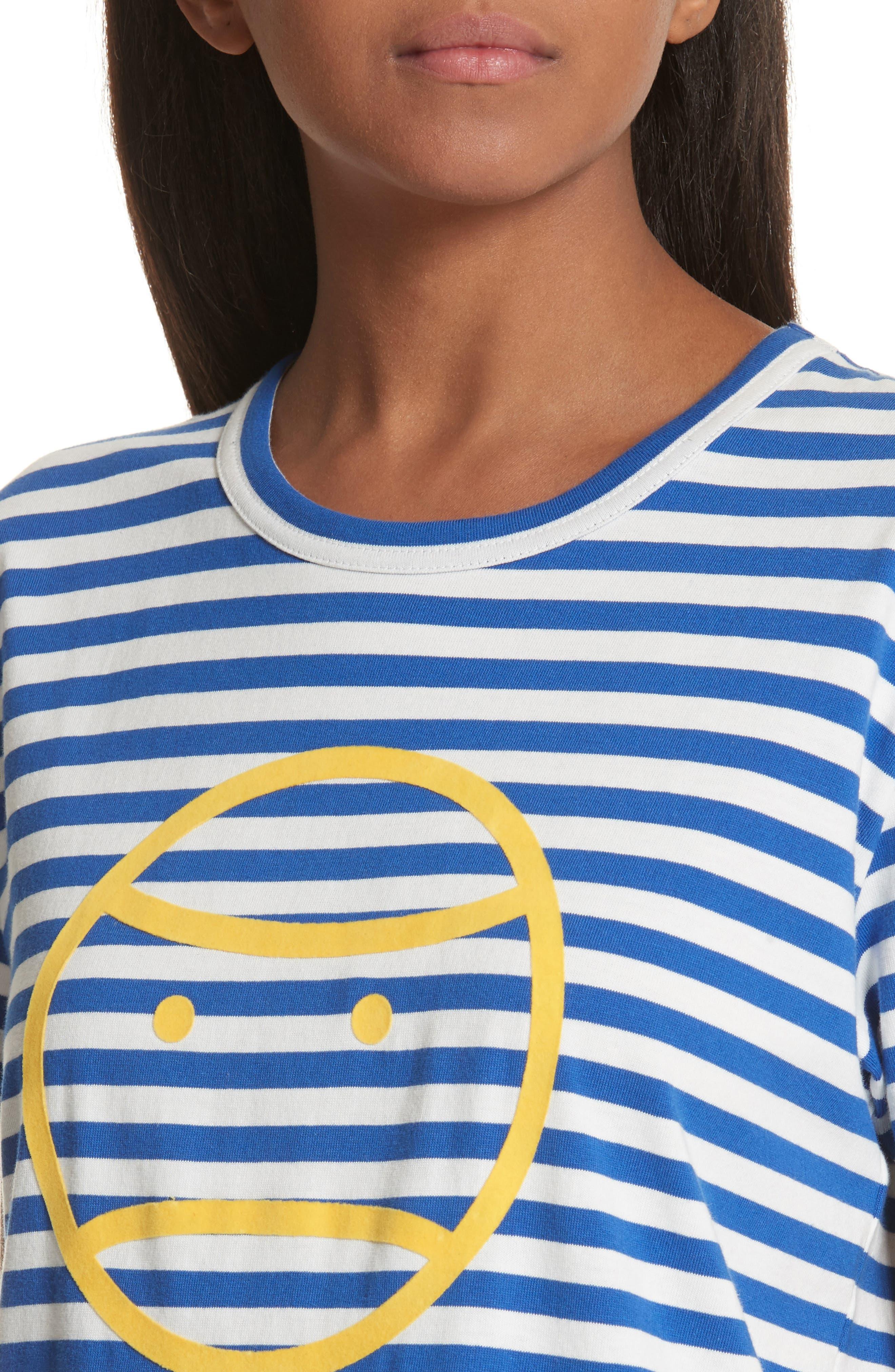 Little Grumps Stripe Tee,                             Alternate thumbnail 4, color,                             Slalom Blue Classic Stripe