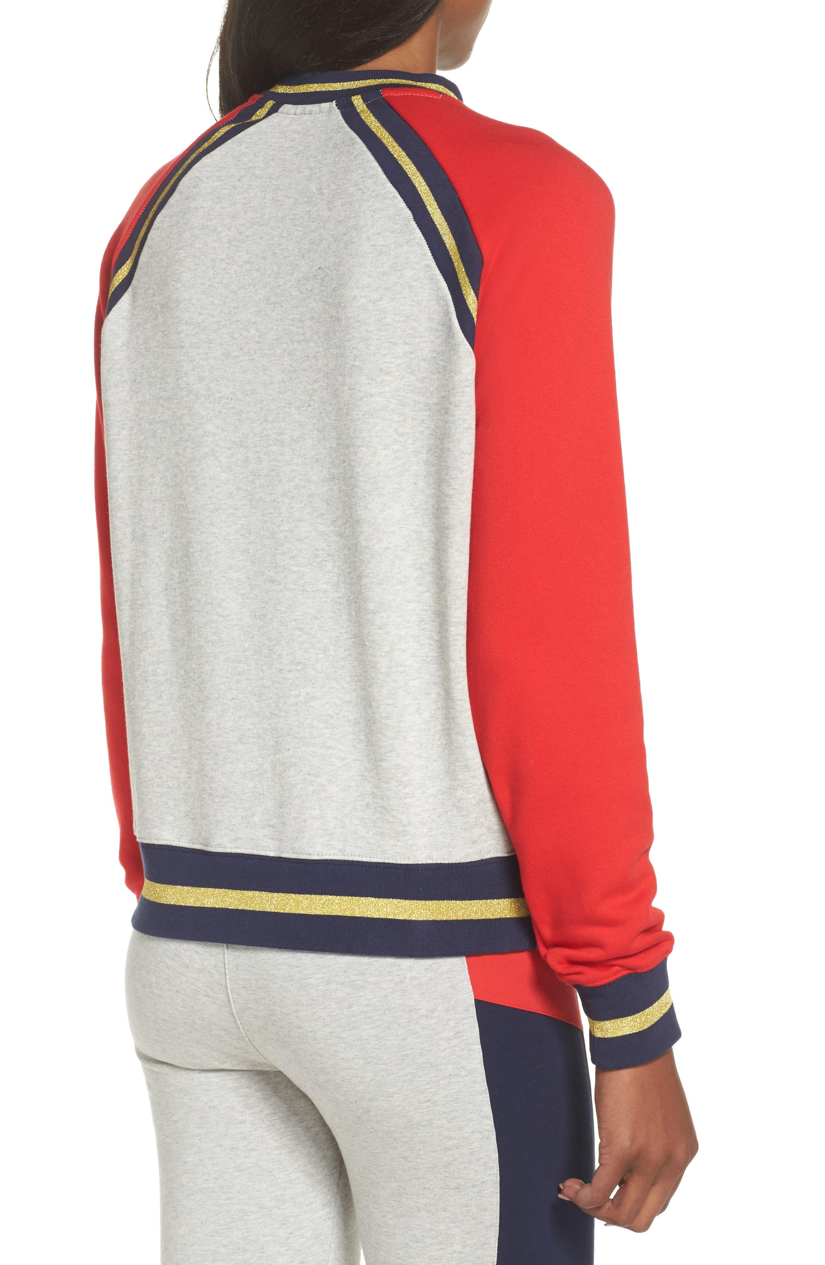 Rafaella Sweatshirt,                             Alternate thumbnail 2, color,                             Light Grey / Peacoat/ Red