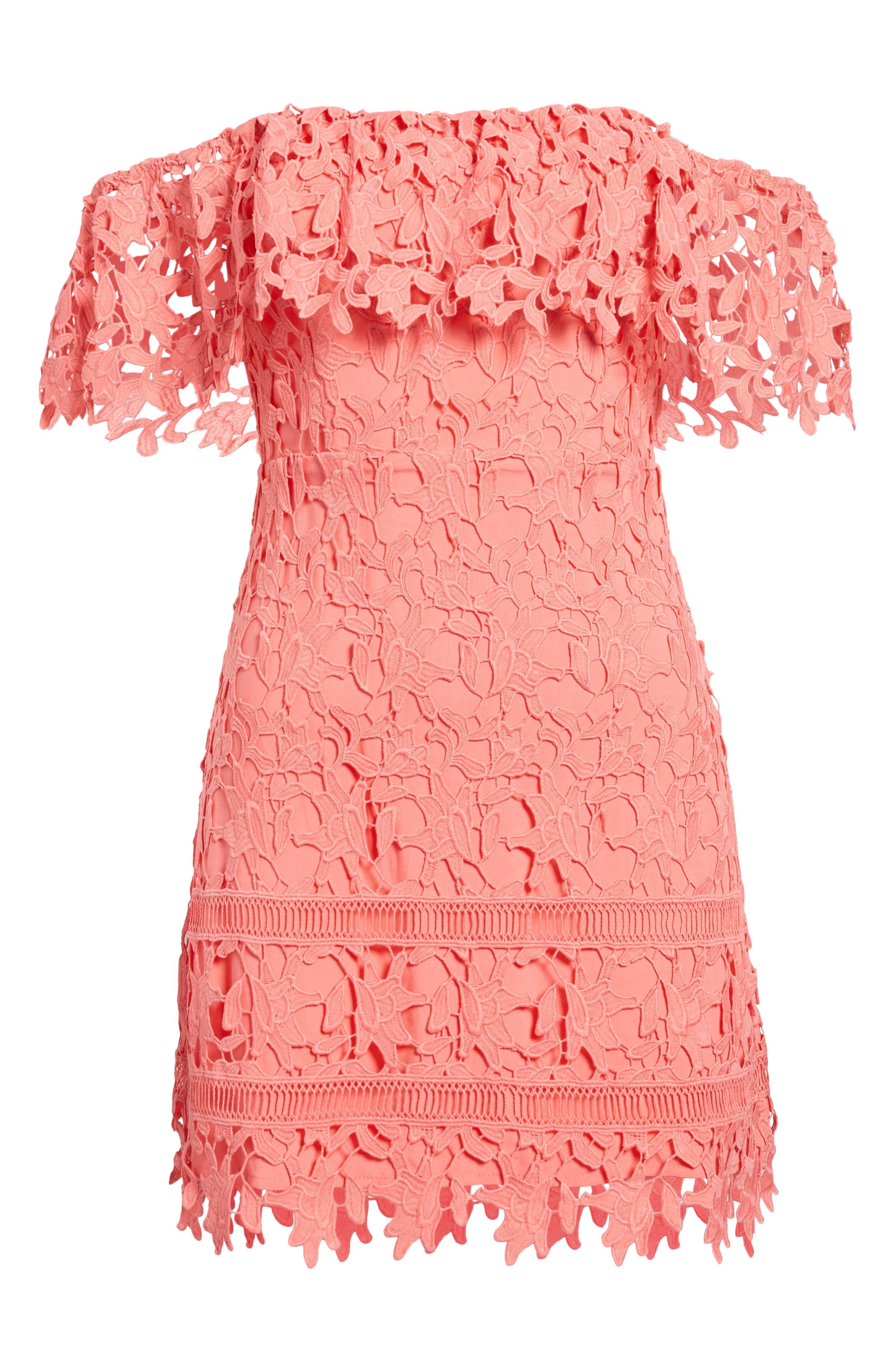 Off the Shoulder Lace Minidress,                             Alternate thumbnail 7, color,                             Coral