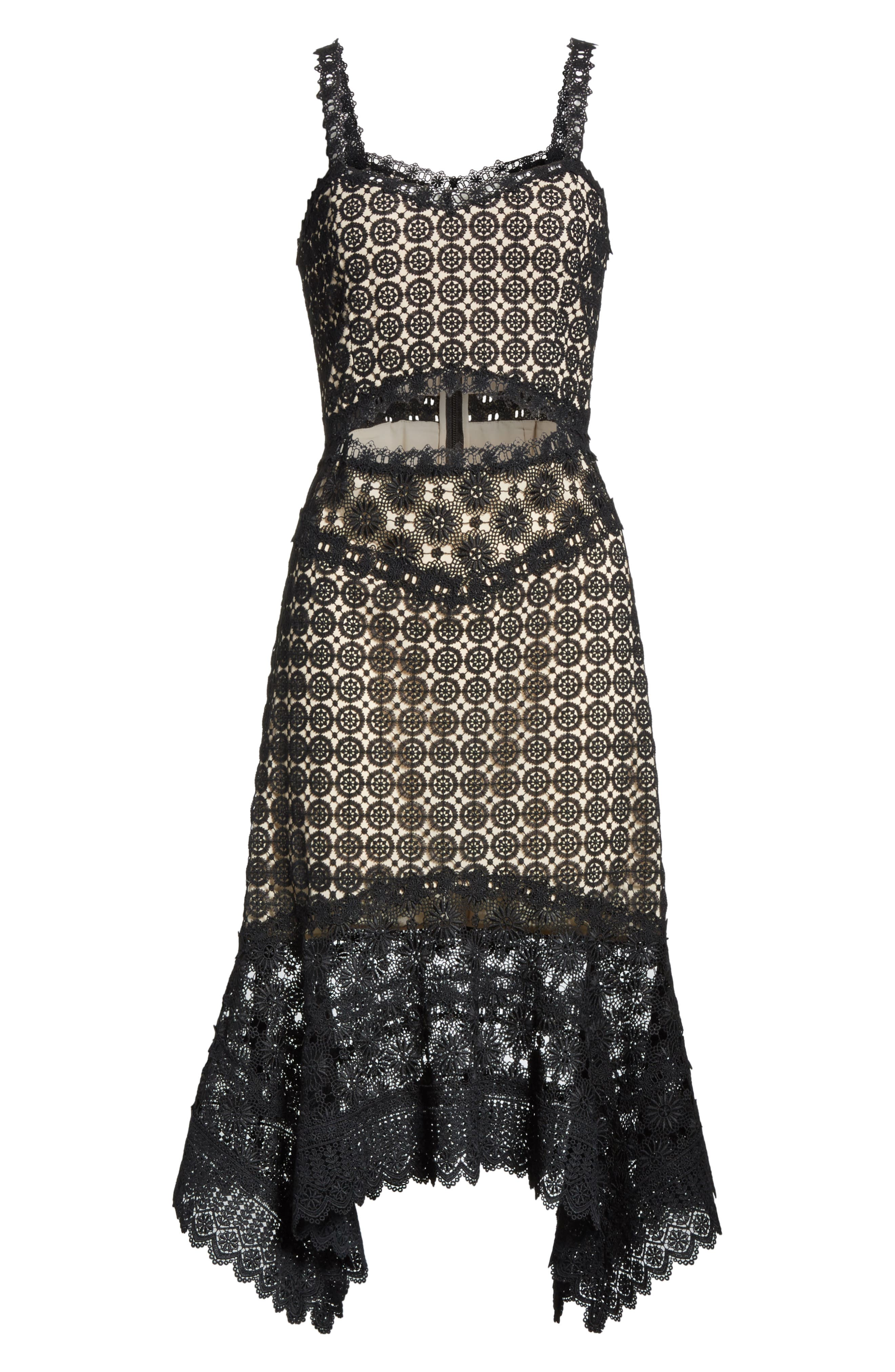 Tamika Handkerchief Lace Dress,                             Alternate thumbnail 6, color,                             Black/ Sesame