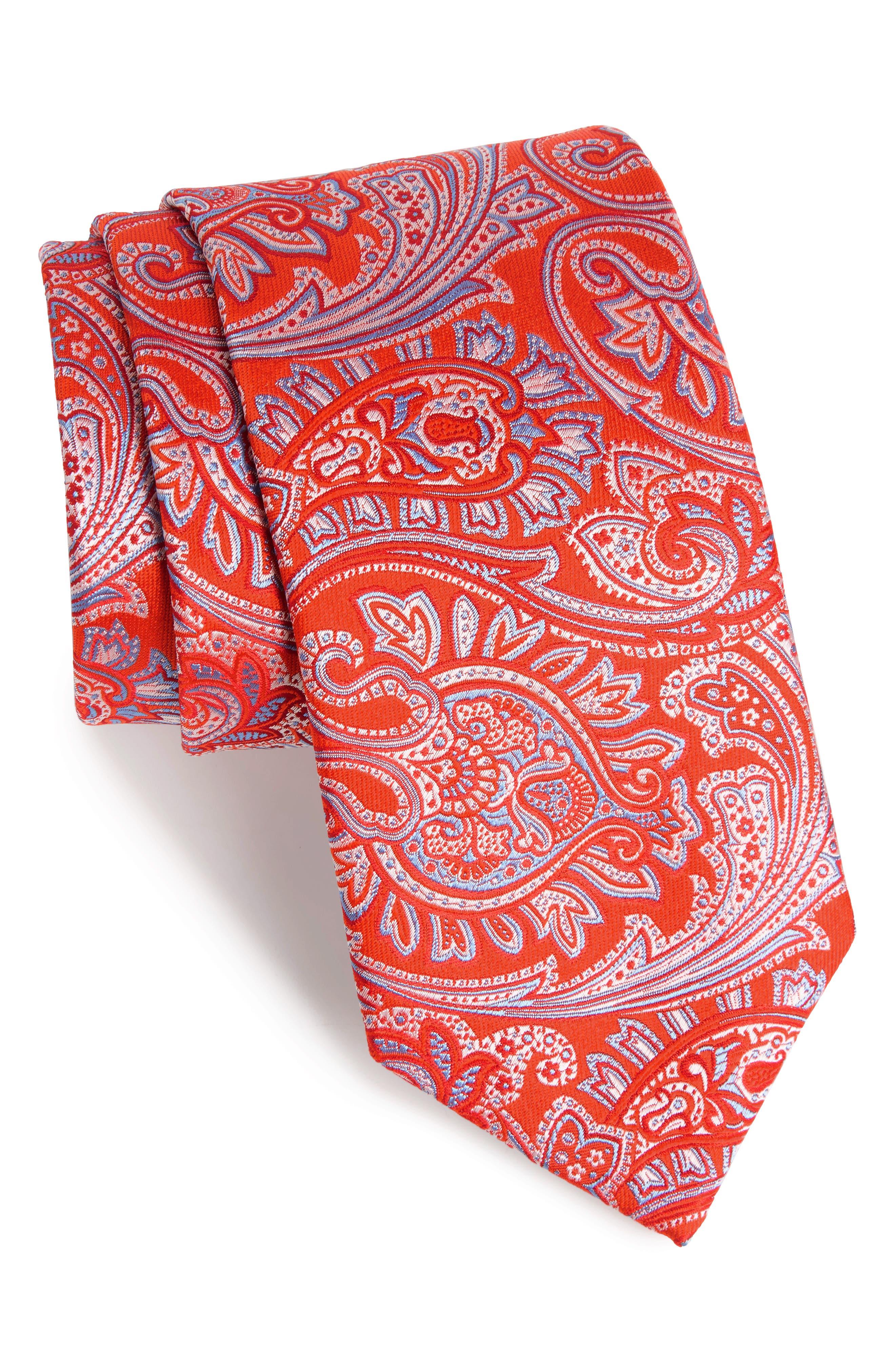 Paisley Silk Tie,                         Main,                         color, Melon