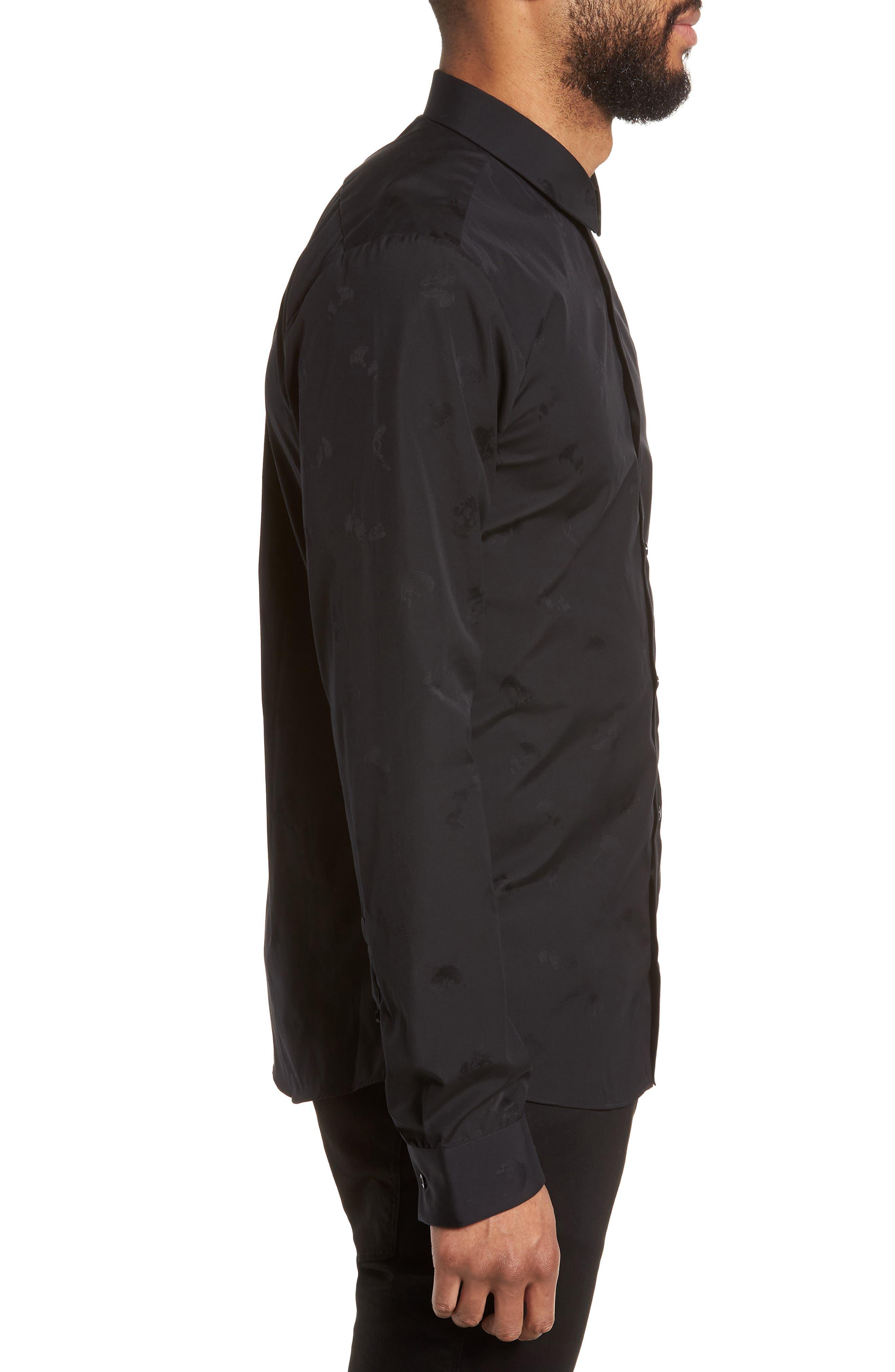 Ero Slim Fit Print Sport Shirt,                             Alternate thumbnail 3, color,                             Black