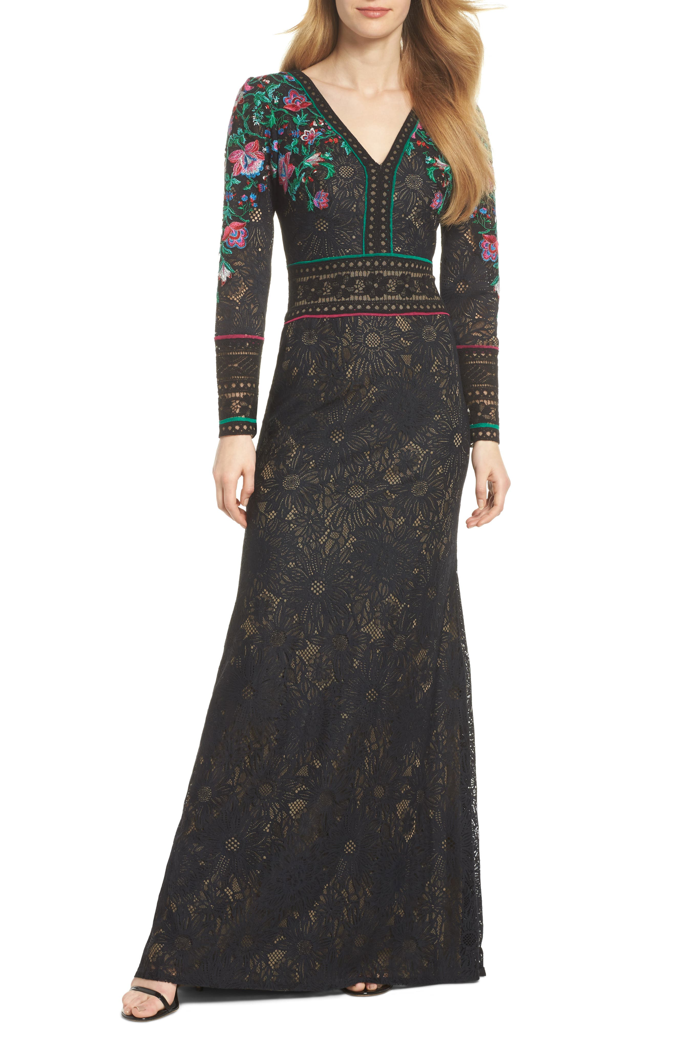 TADASHI SHOJI FLORAL EMBROIDERED LACE LONG-SLEEVE GOWN, BLACK DAHLIA ...