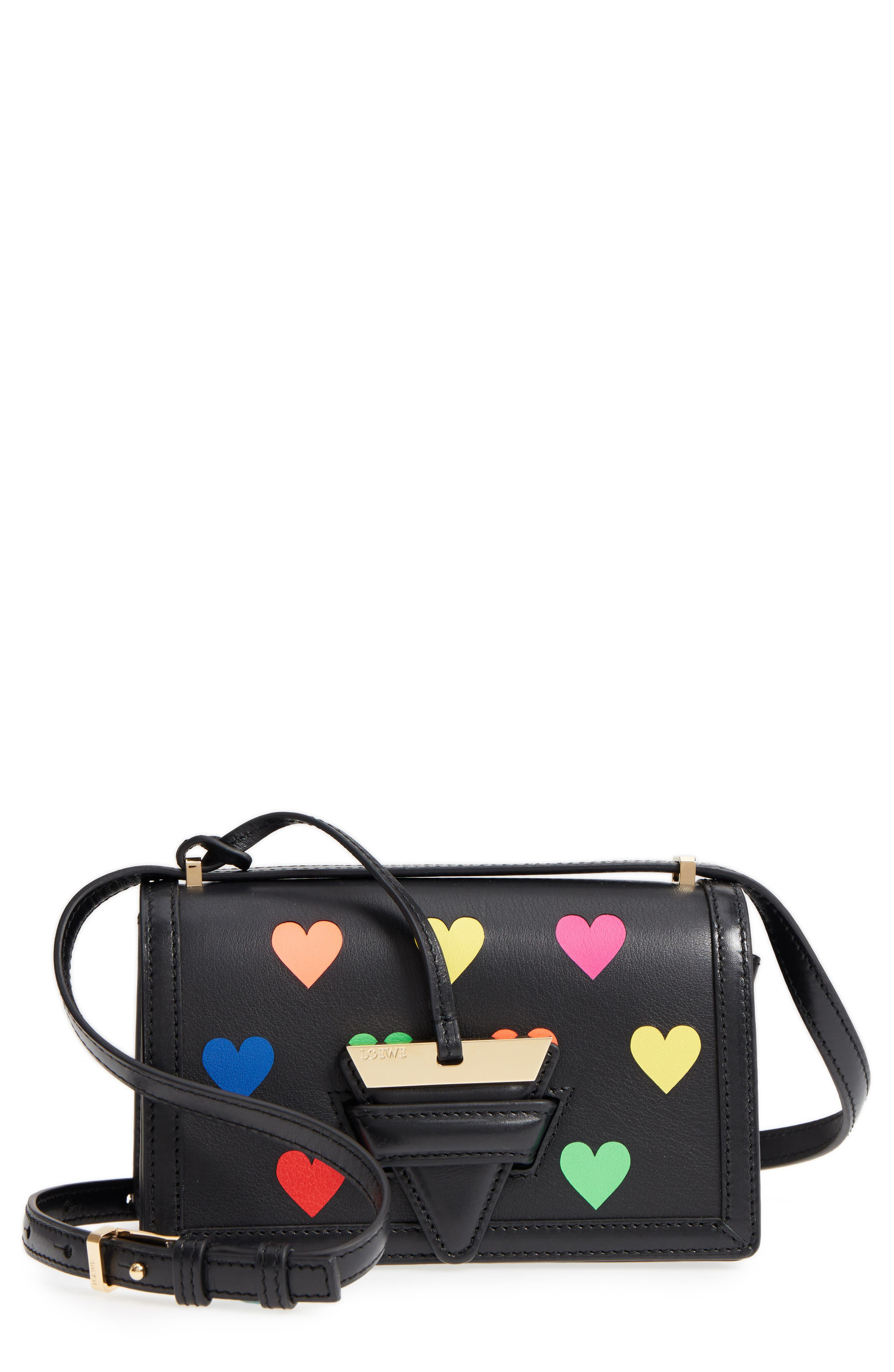 Loewe Mini Barcelona Hearts Calfskin Leather Crossbody Bag
