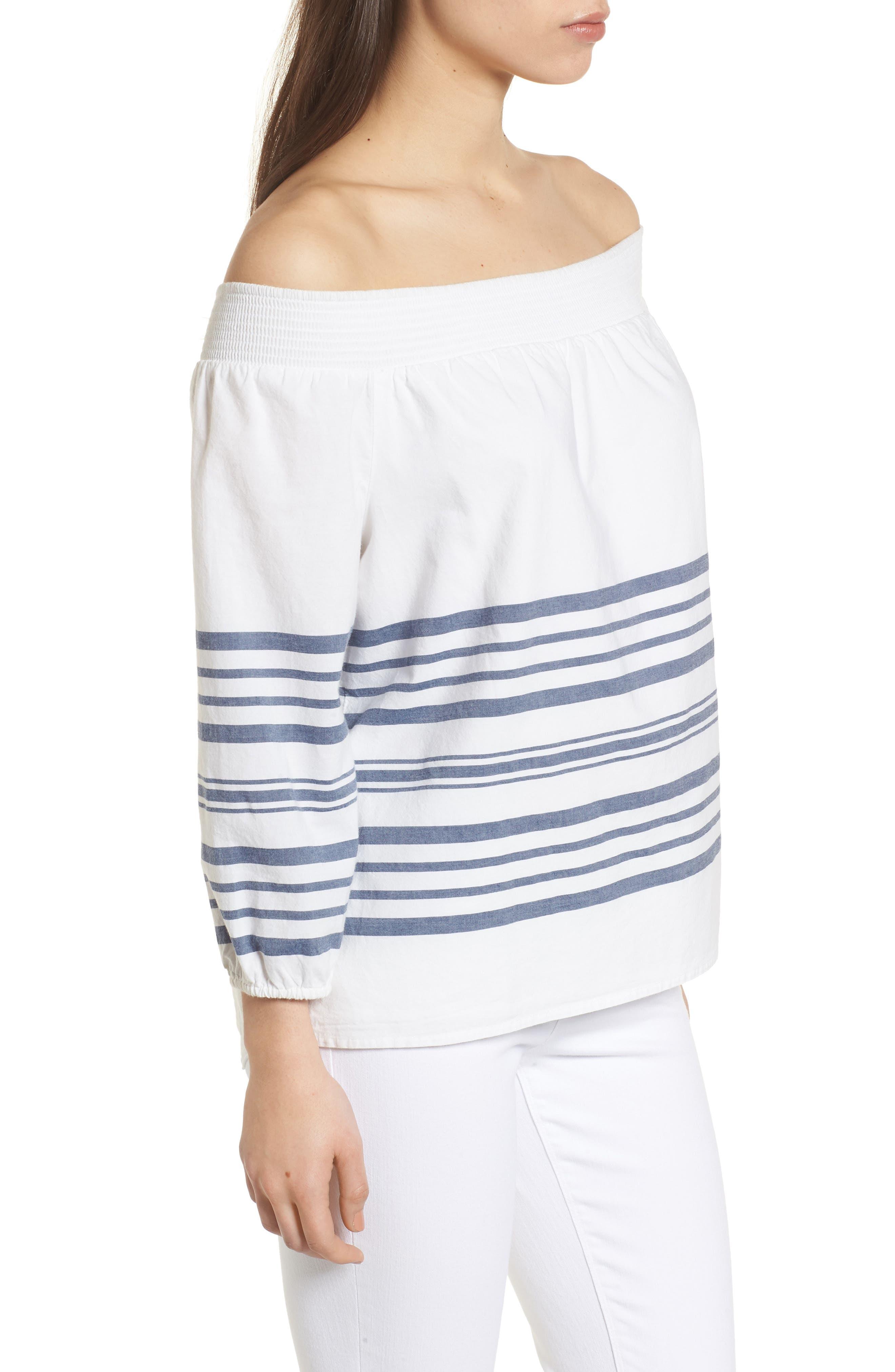 Breaker Stripe Off the Shoulder Cotton Top,                             Alternate thumbnail 3, color,                             White Cap