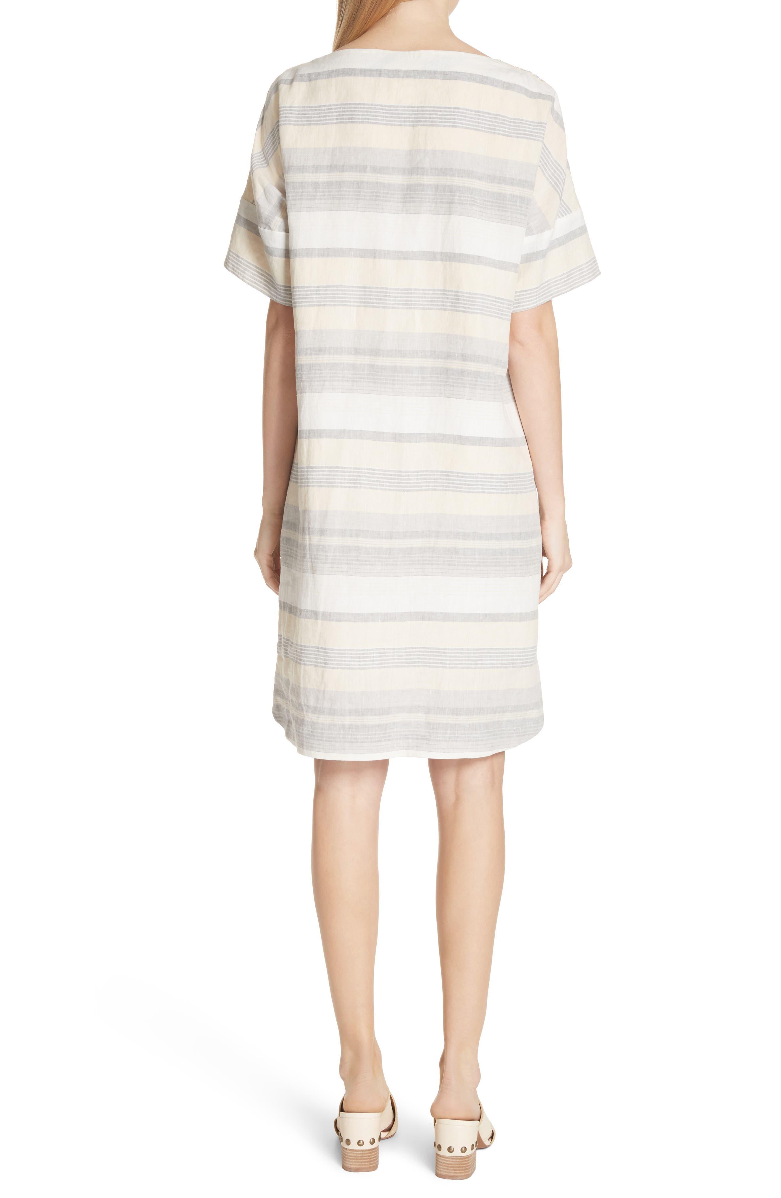 Lydia Stripe Linen Dress,                             Alternate thumbnail 2, color,                             Chickpea Multi