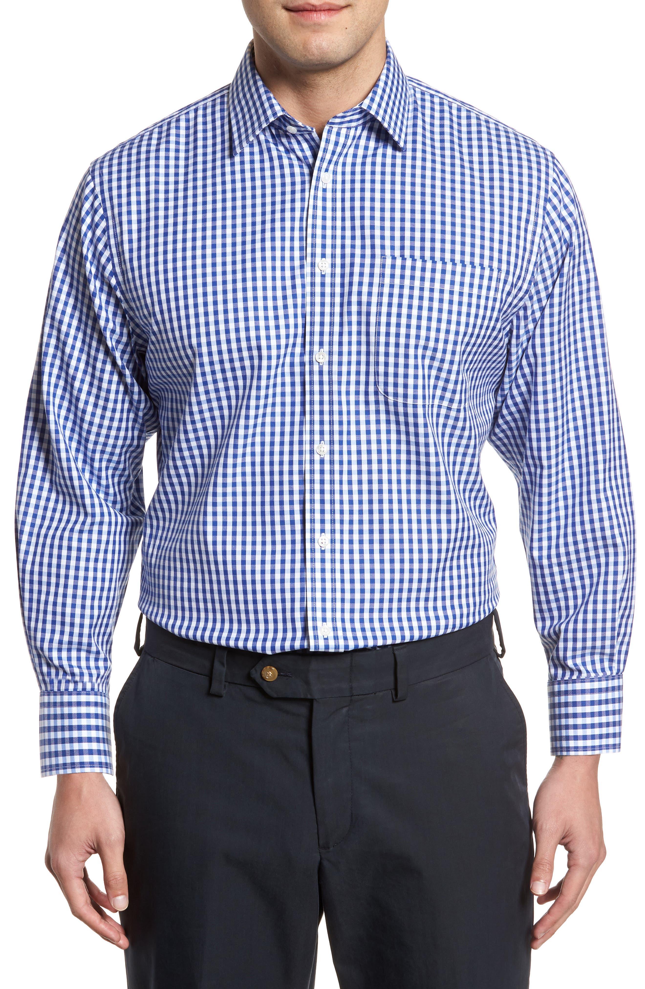 Smartcare<sup>™</sup> Traditional Fit Check Dress Shirt,                         Main,                         color, Blue Mazarine