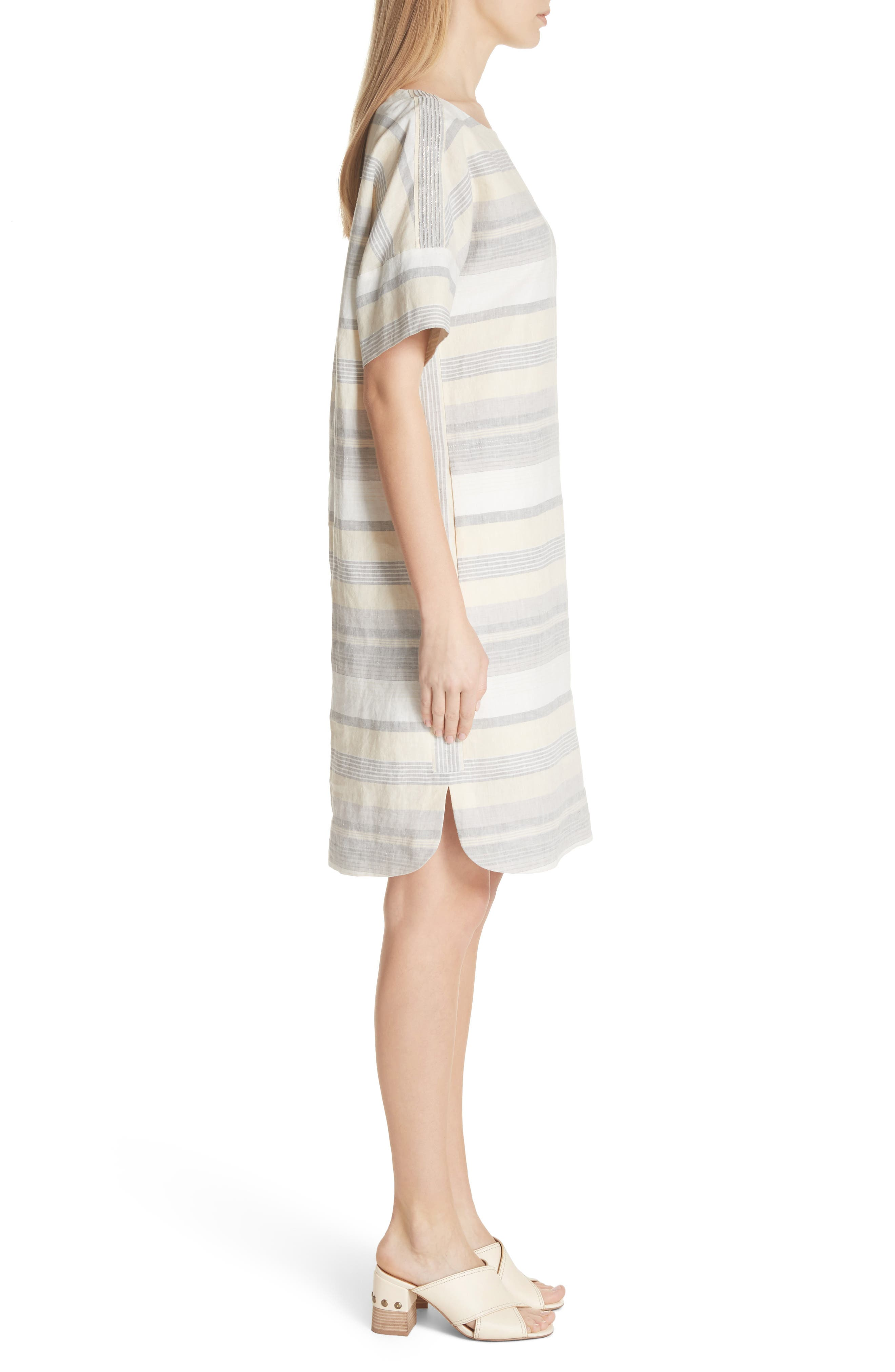 Lydia Stripe Linen Dress,                             Alternate thumbnail 3, color,                             Chickpea Multi