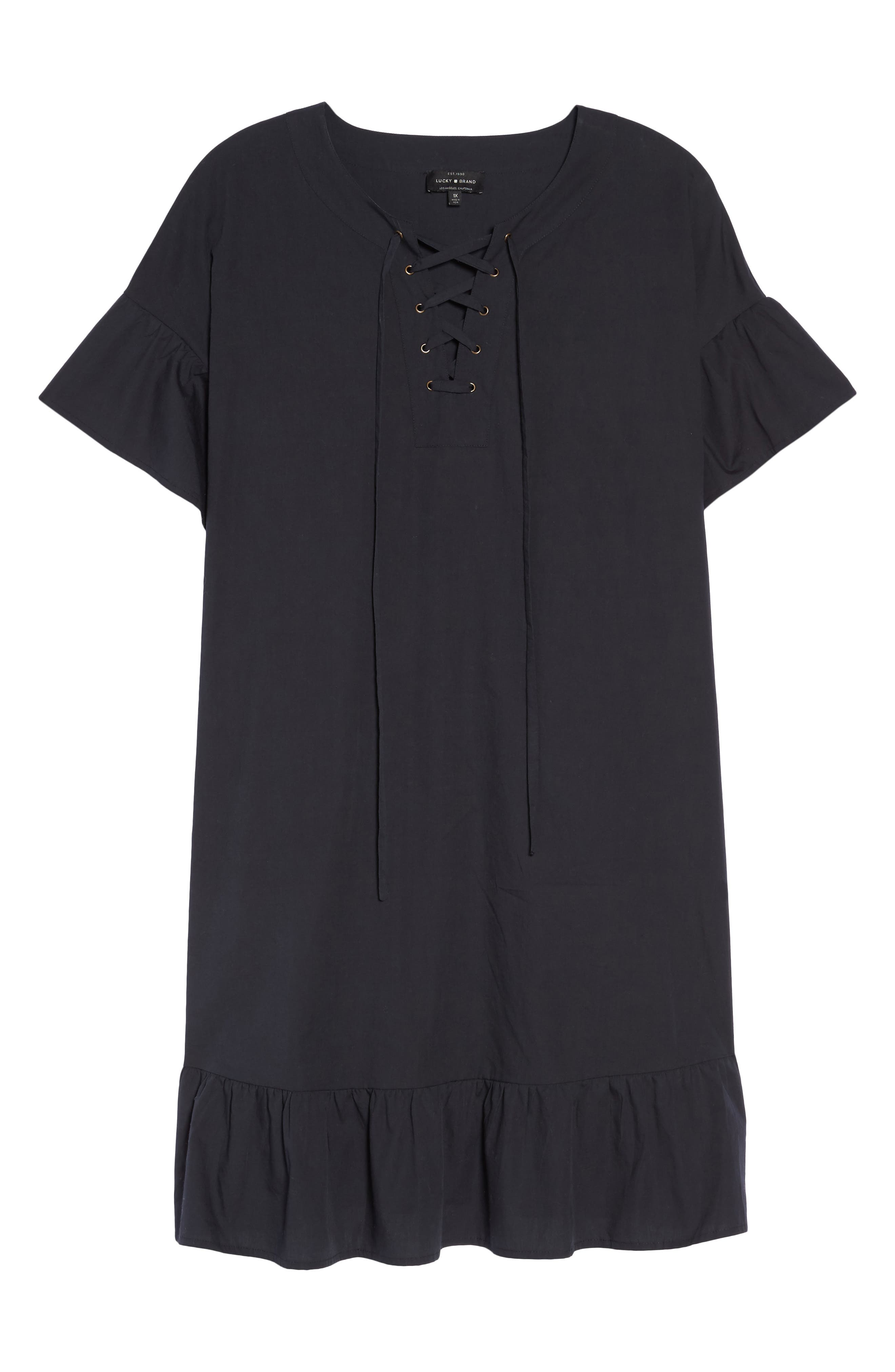 Lace-Up Poplin Dress,                             Alternate thumbnail 6, color,                             Lucky Black