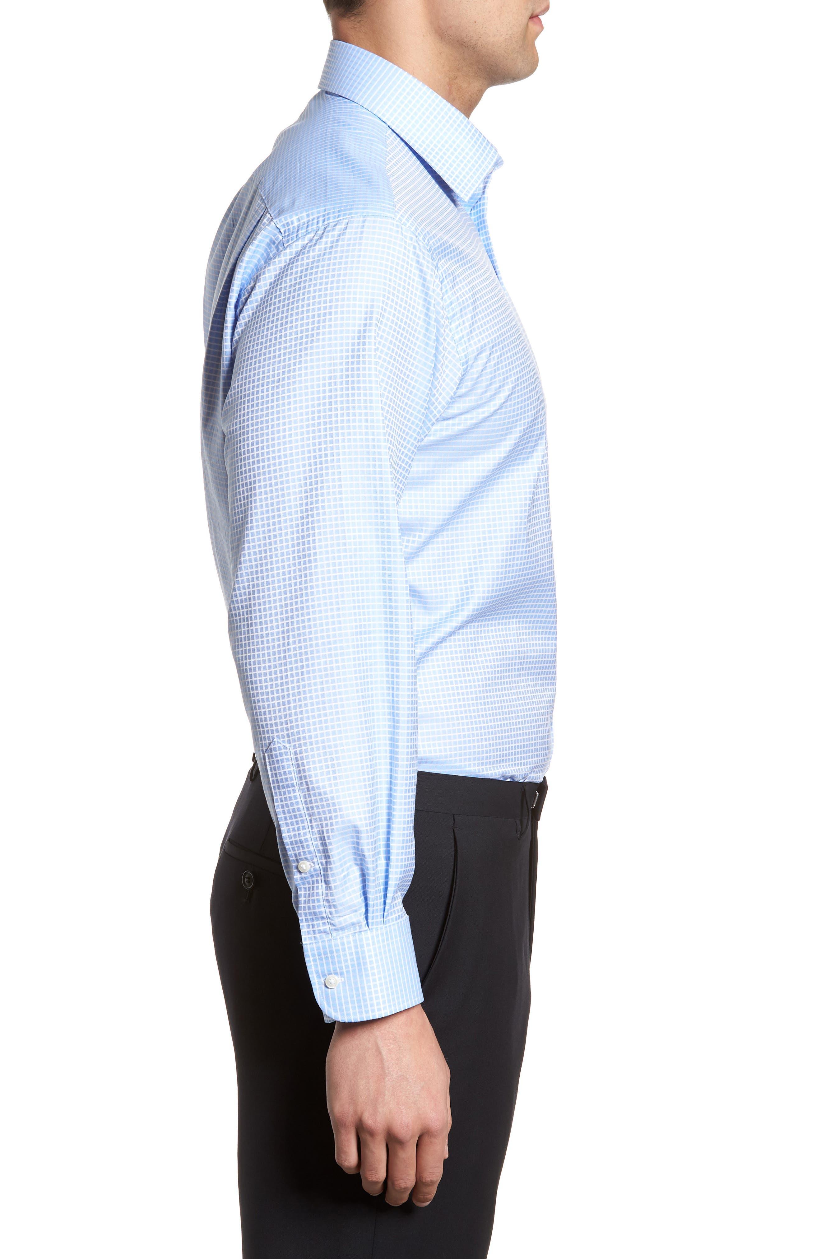 Classic Fit Check Dress Shirt,                             Alternate thumbnail 4, color,                             Blue Hydrangea