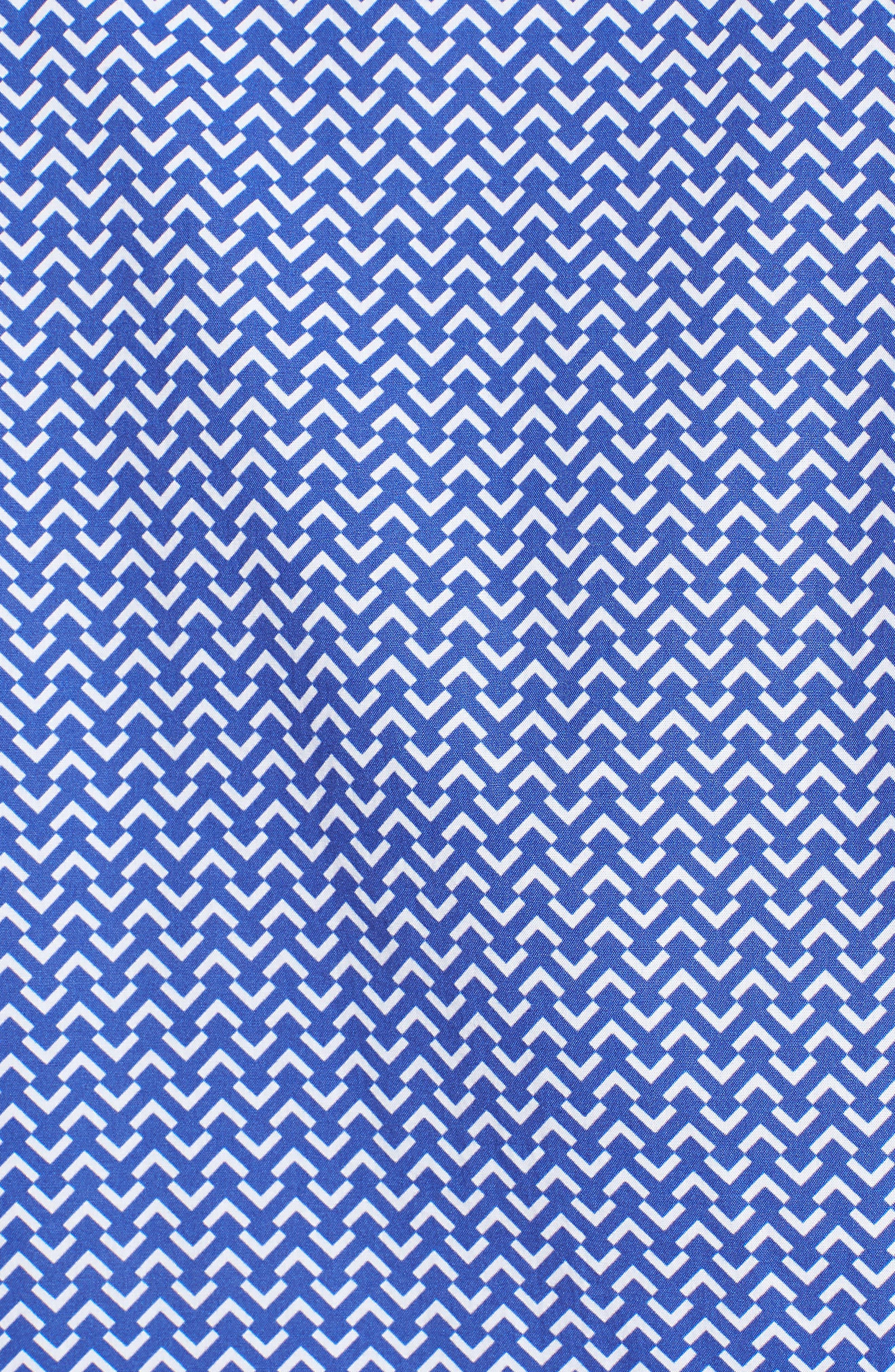 Premium Slim Fit Print Sport Shirt,                             Alternate thumbnail 5, color,                             Blue Wave