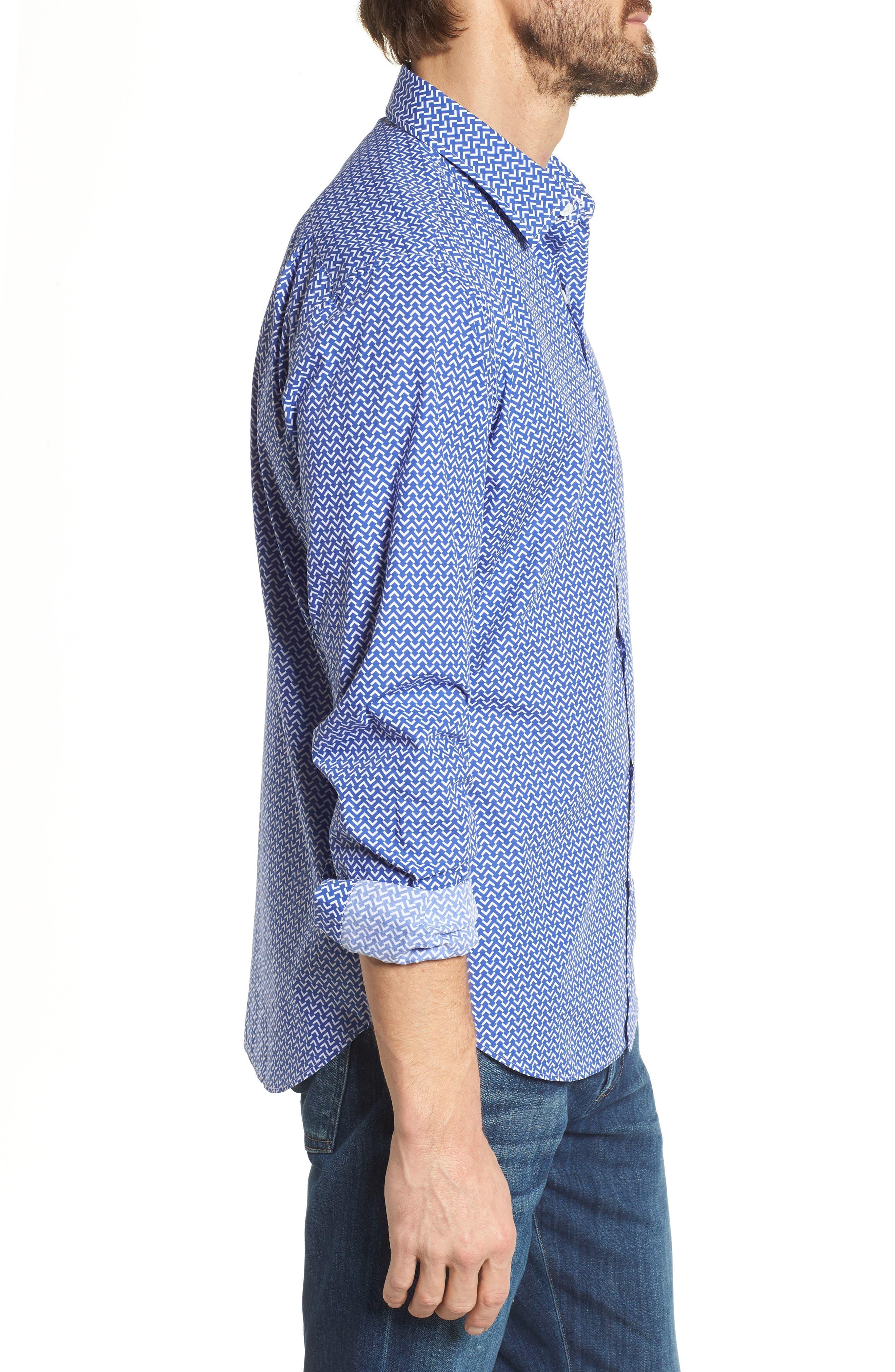 Premium Slim Fit Print Sport Shirt,                             Alternate thumbnail 4, color,                             Blue Wave