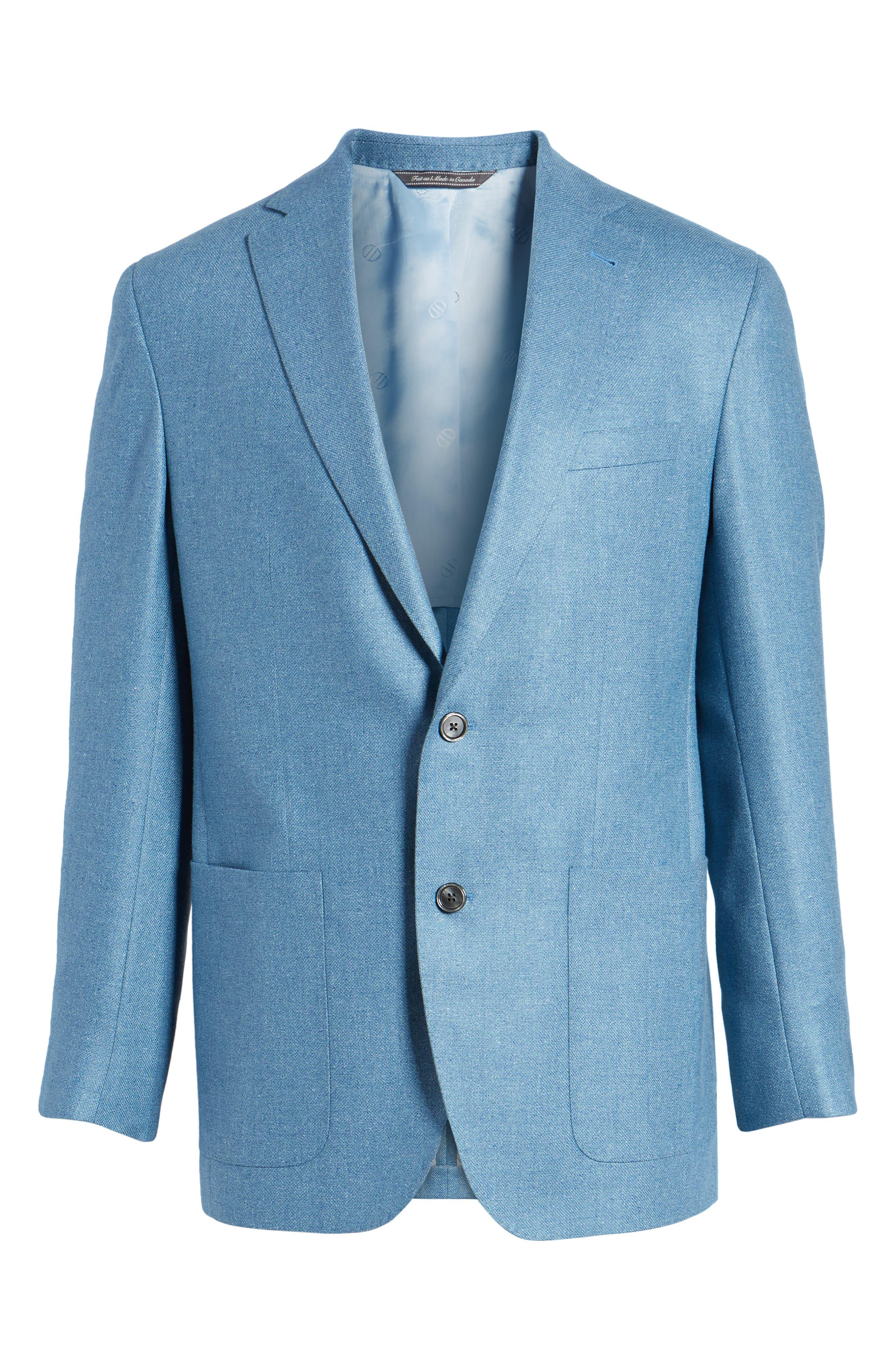Aiden Classic Fit Silk & Wool Blazer,                             Alternate thumbnail 6, color,                             Blue