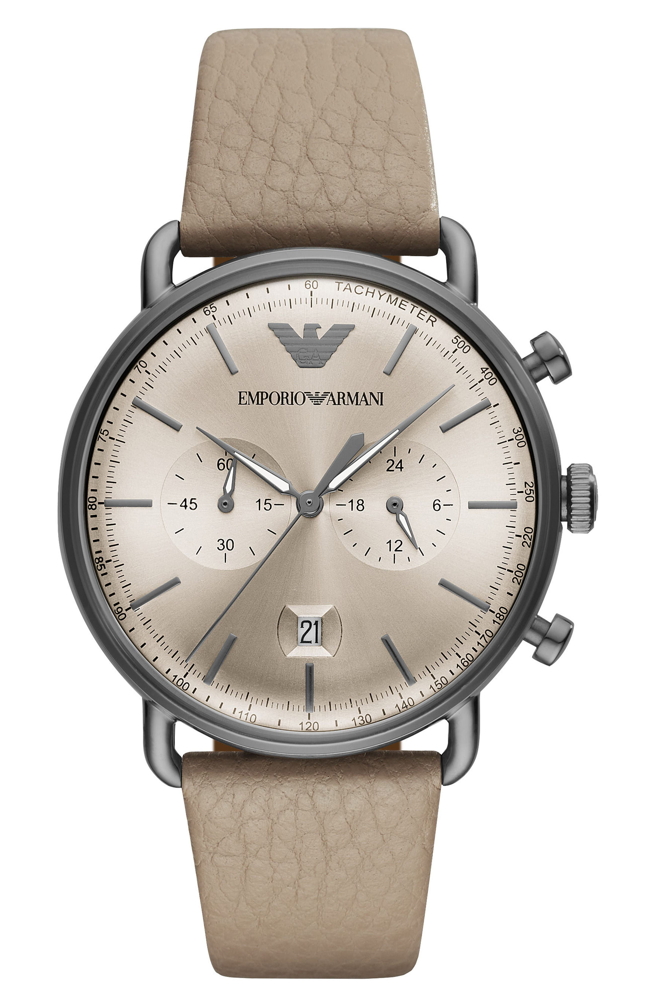 Leather Strap Chronograph Watch, 43mm,                             Main thumbnail 1, color,                             Silver/ Taupe