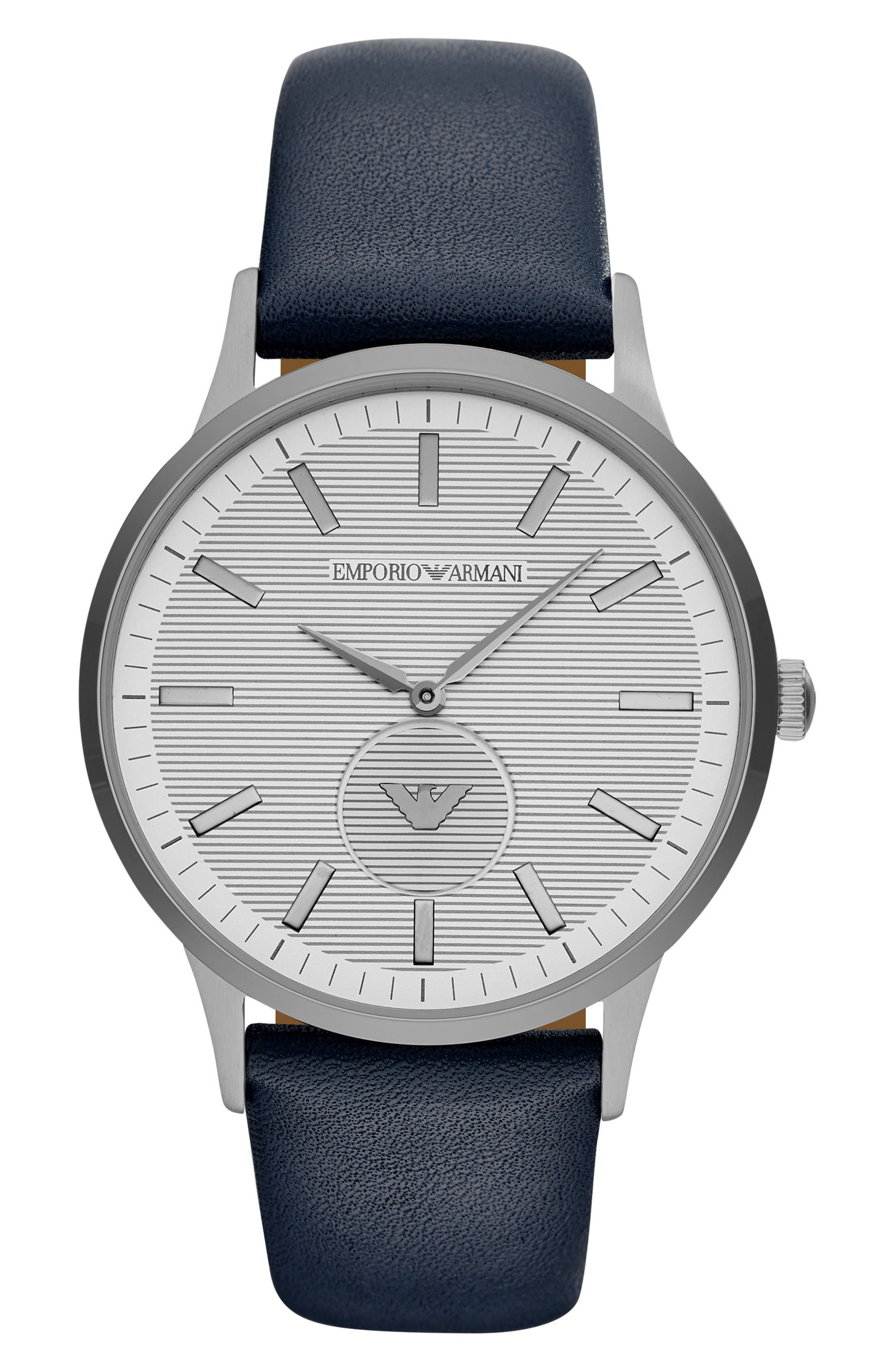 Round Leather Strap Watch, 43mm,                             Main thumbnail 1, color,                             Grey/ Blue