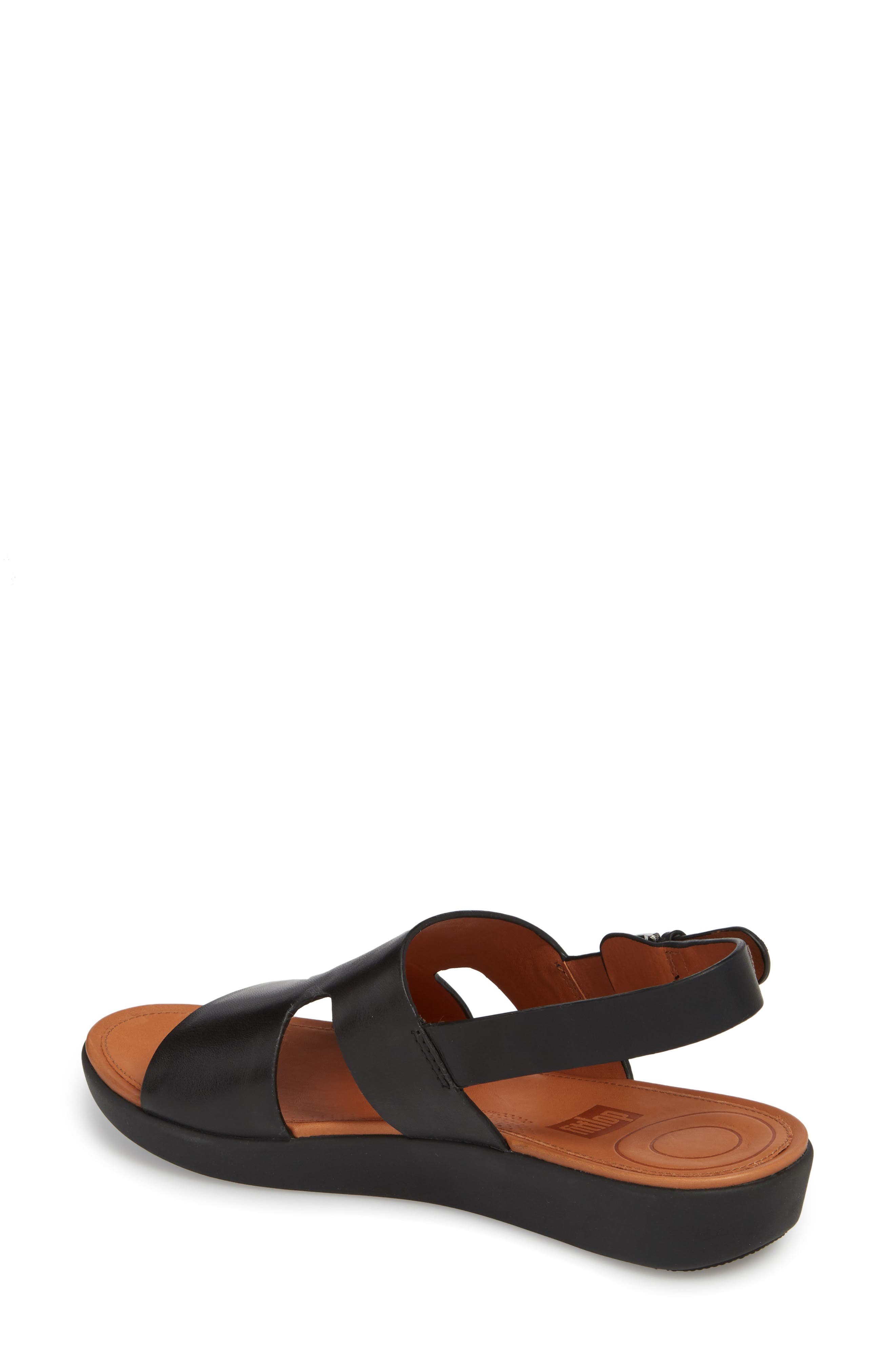 H-Bar Slingback Sandal,                             Alternate thumbnail 2, color,                             Black Leather