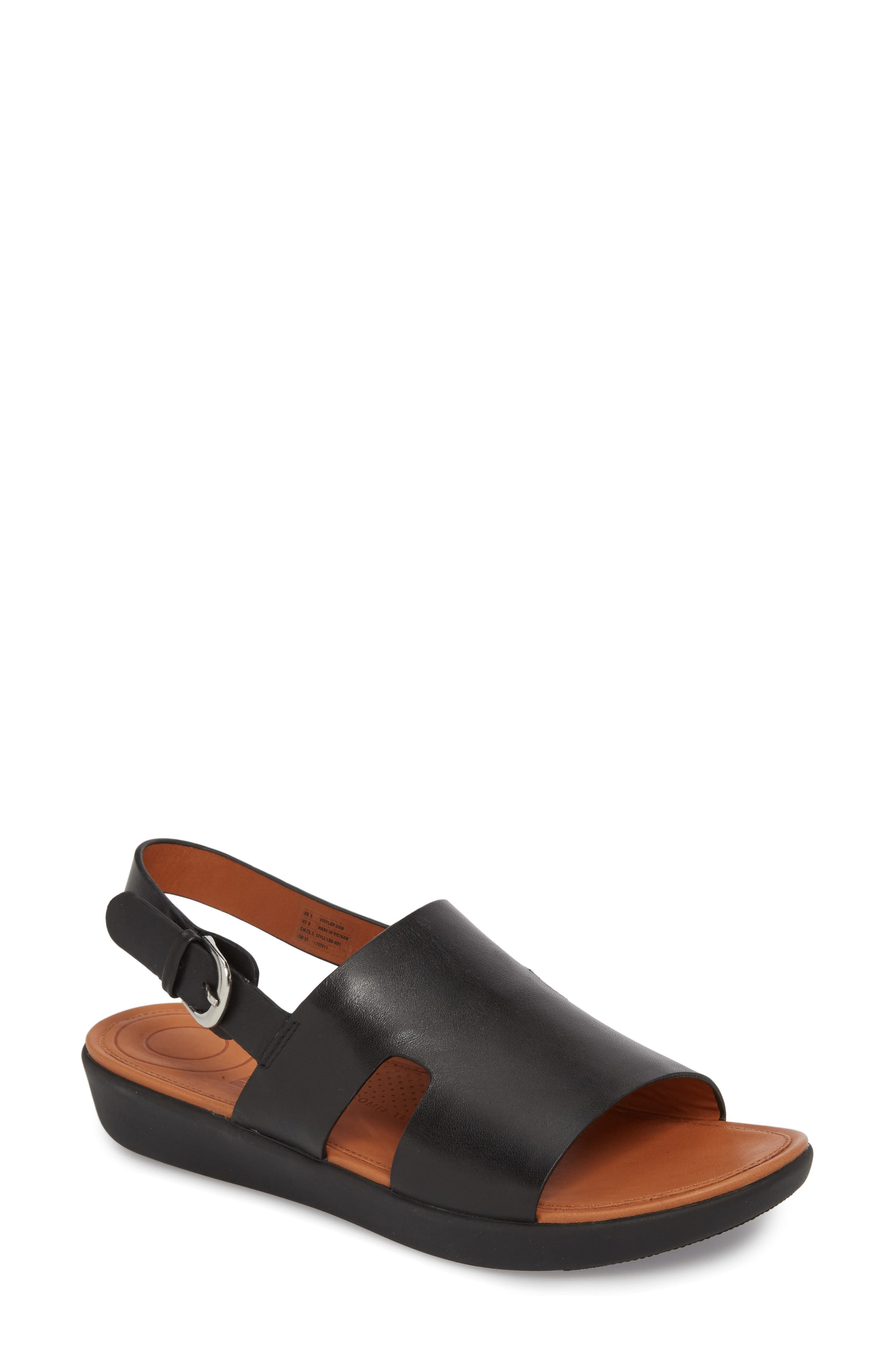 H-Bar Slingback Sandal,                             Main thumbnail 1, color,                             Black Leather