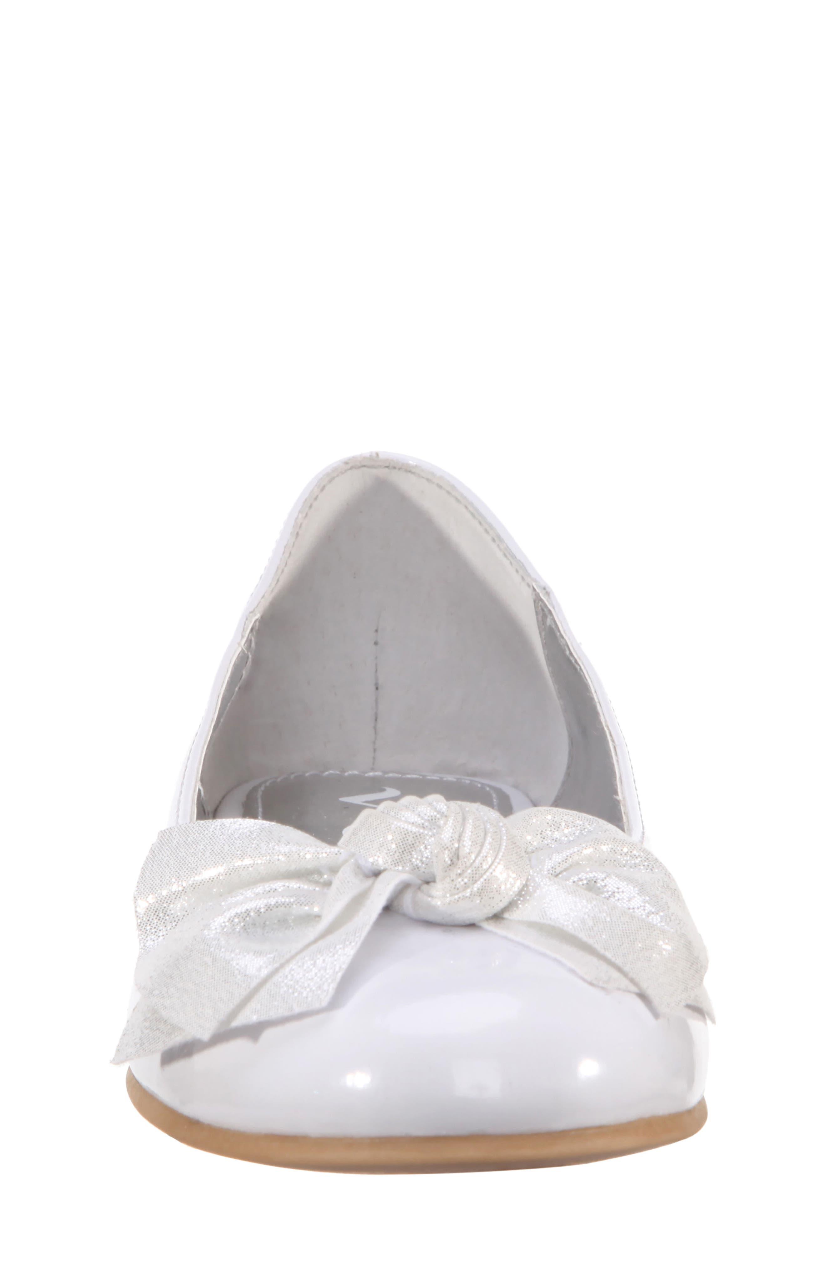 Katelyn Glitter Bow Metallic Ballet Flat,                             Alternate thumbnail 4, color,                             White Patent