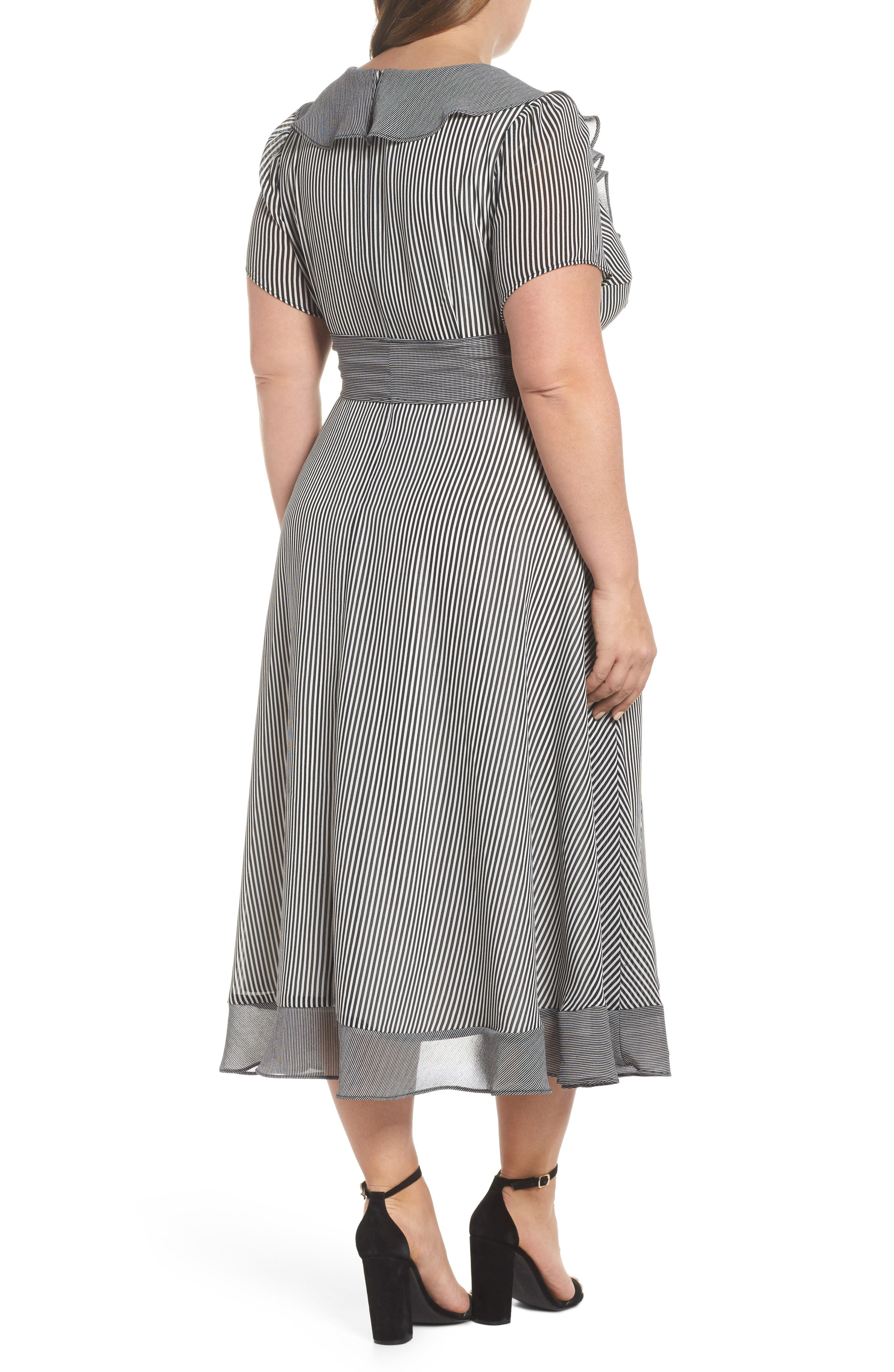 Ruffle Stripe Faux Wrap Midi Dress,                             Alternate thumbnail 2, color,                             Ivory/ Black