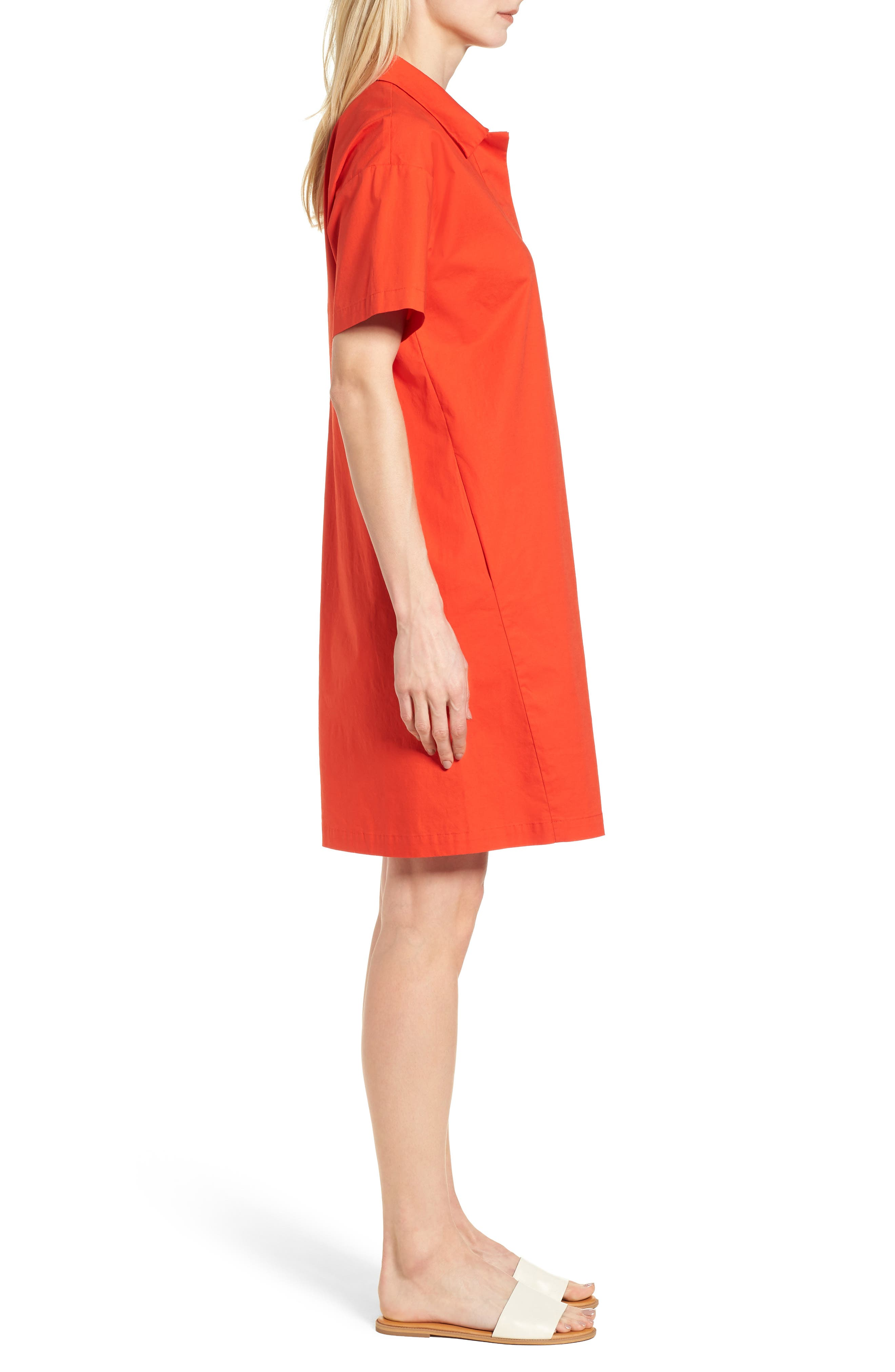 Organic Cotton Poplin Shirtdress,                             Alternate thumbnail 3, color,                             Hot Red