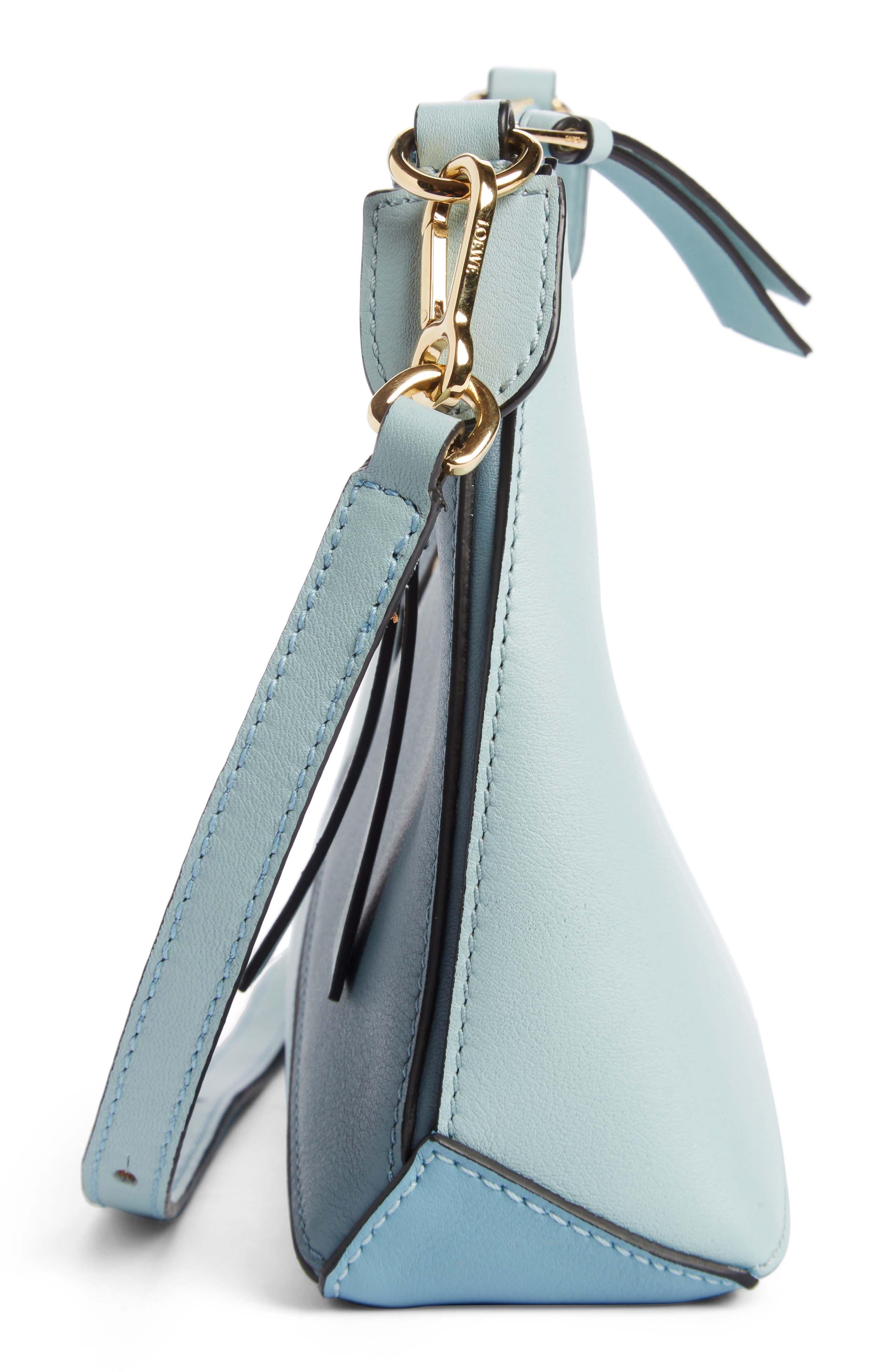 Mini Puzzle Calfskin Leather Crossbody Bag,                             Alternate thumbnail 4, color,                             Stone Blue Multitone
