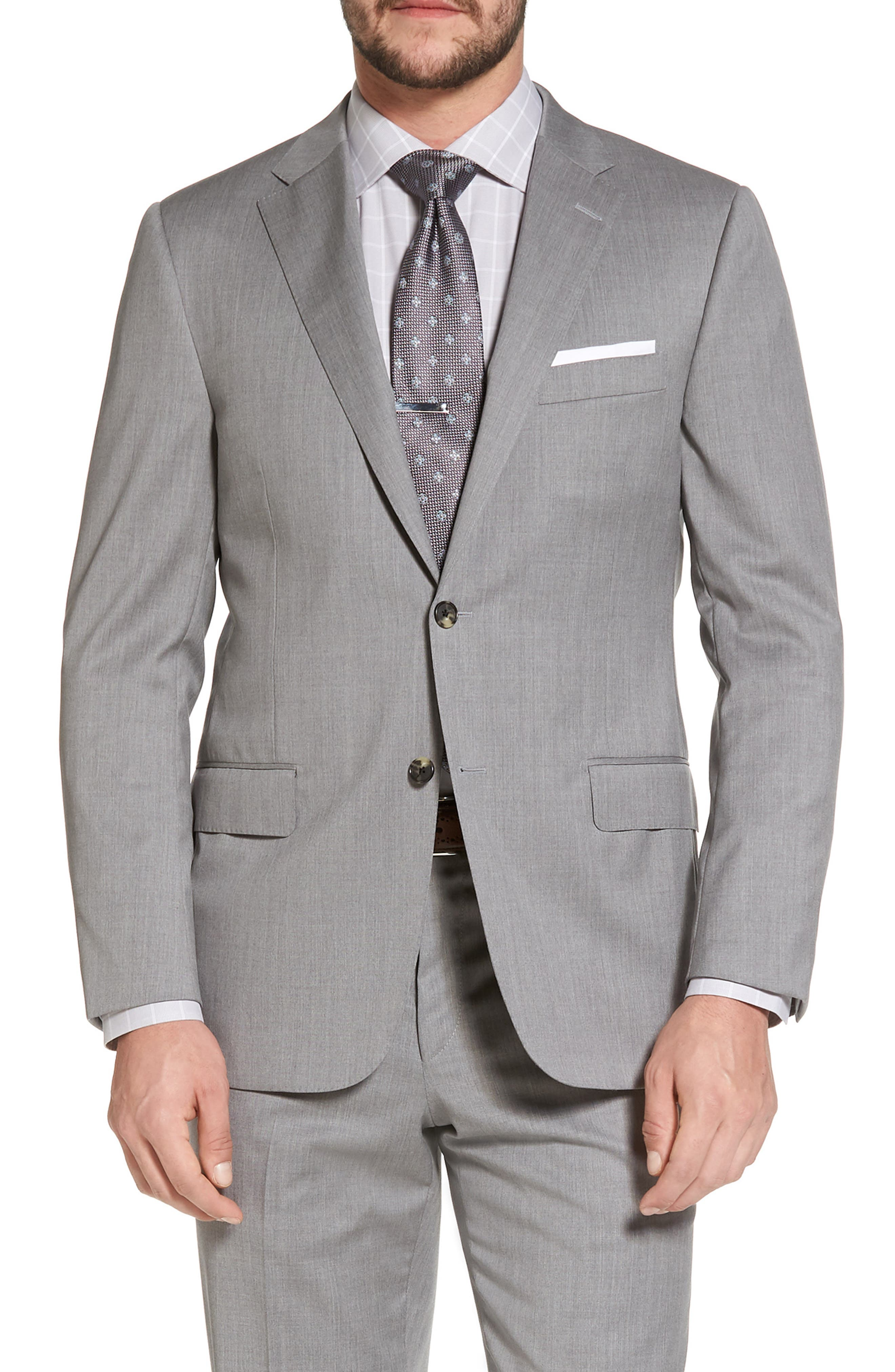 Classic B Fit Solid Wool Suit,                             Alternate thumbnail 5, color,                             Grey