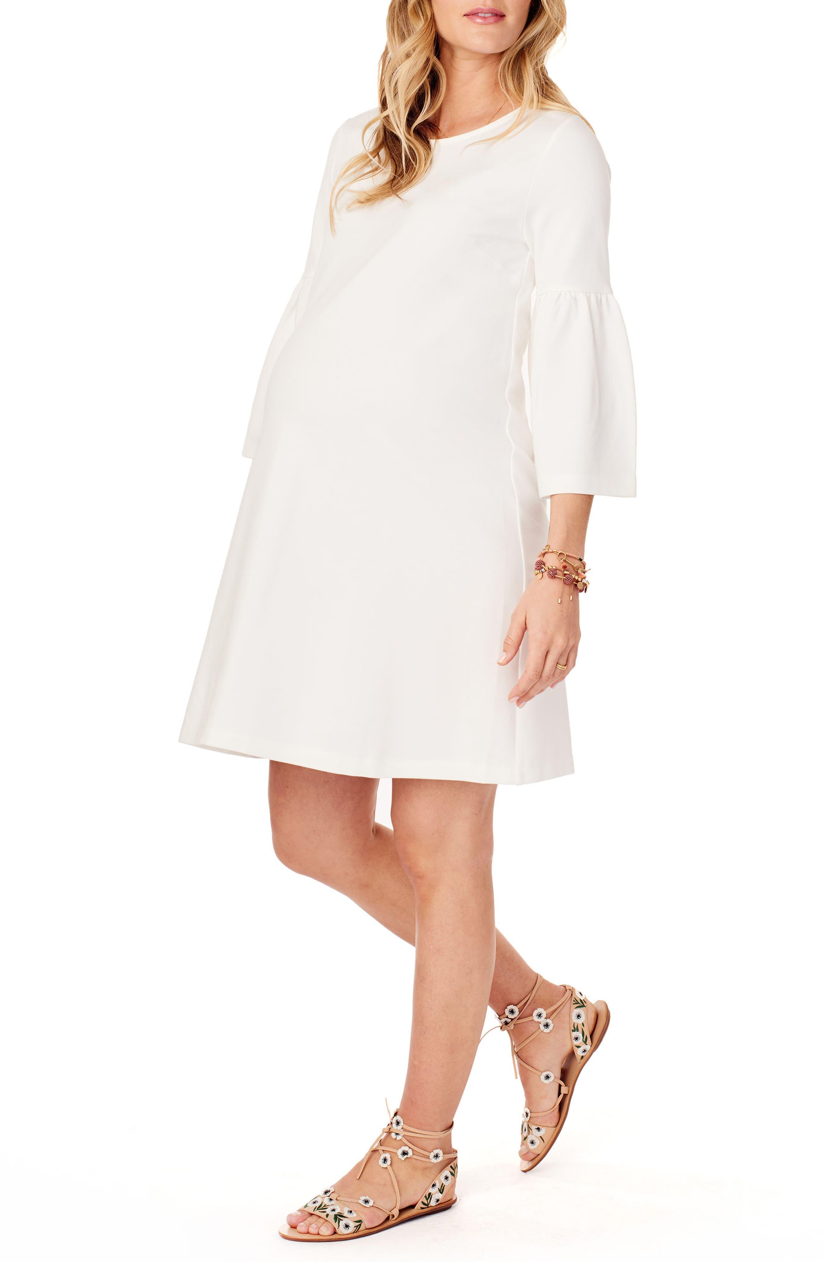 Ponte Knit Bell Sleeve Maternity Dress,                             Alternate thumbnail 3, color,                             Ivory