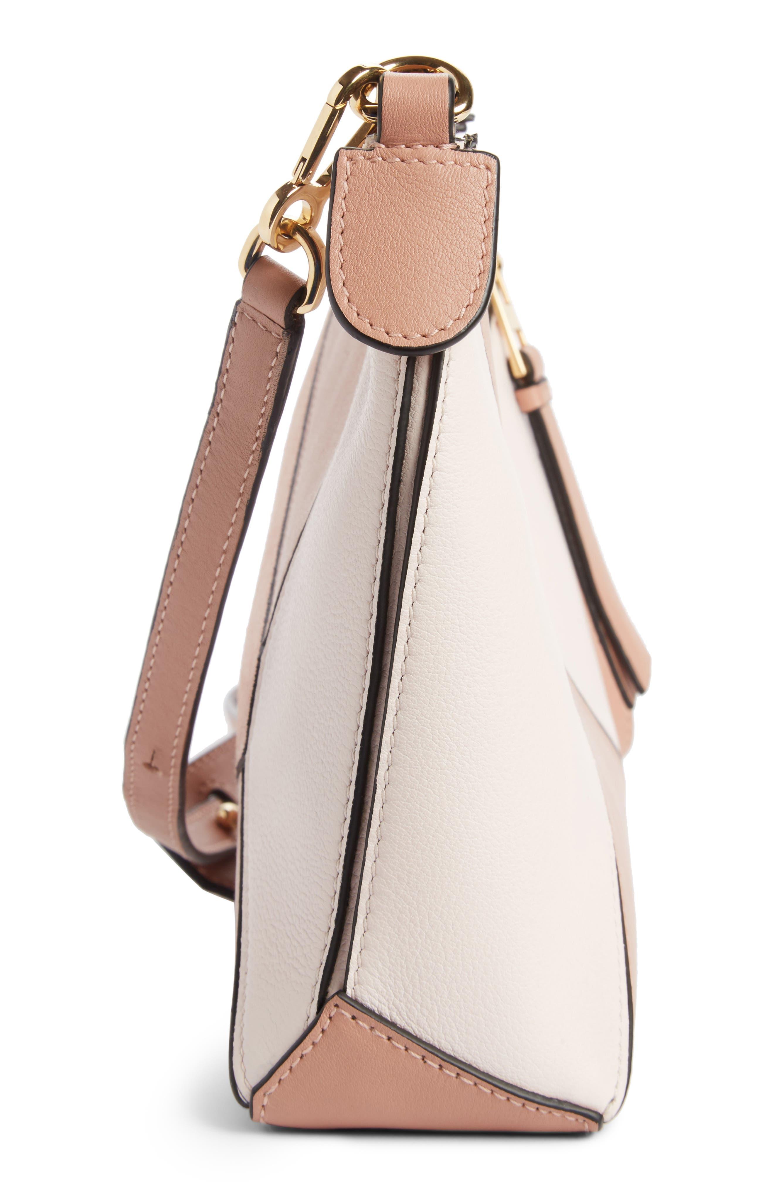 Mini Puzzle Leather Crossbody Bag,                             Alternate thumbnail 3, color,                             Blush Multitone