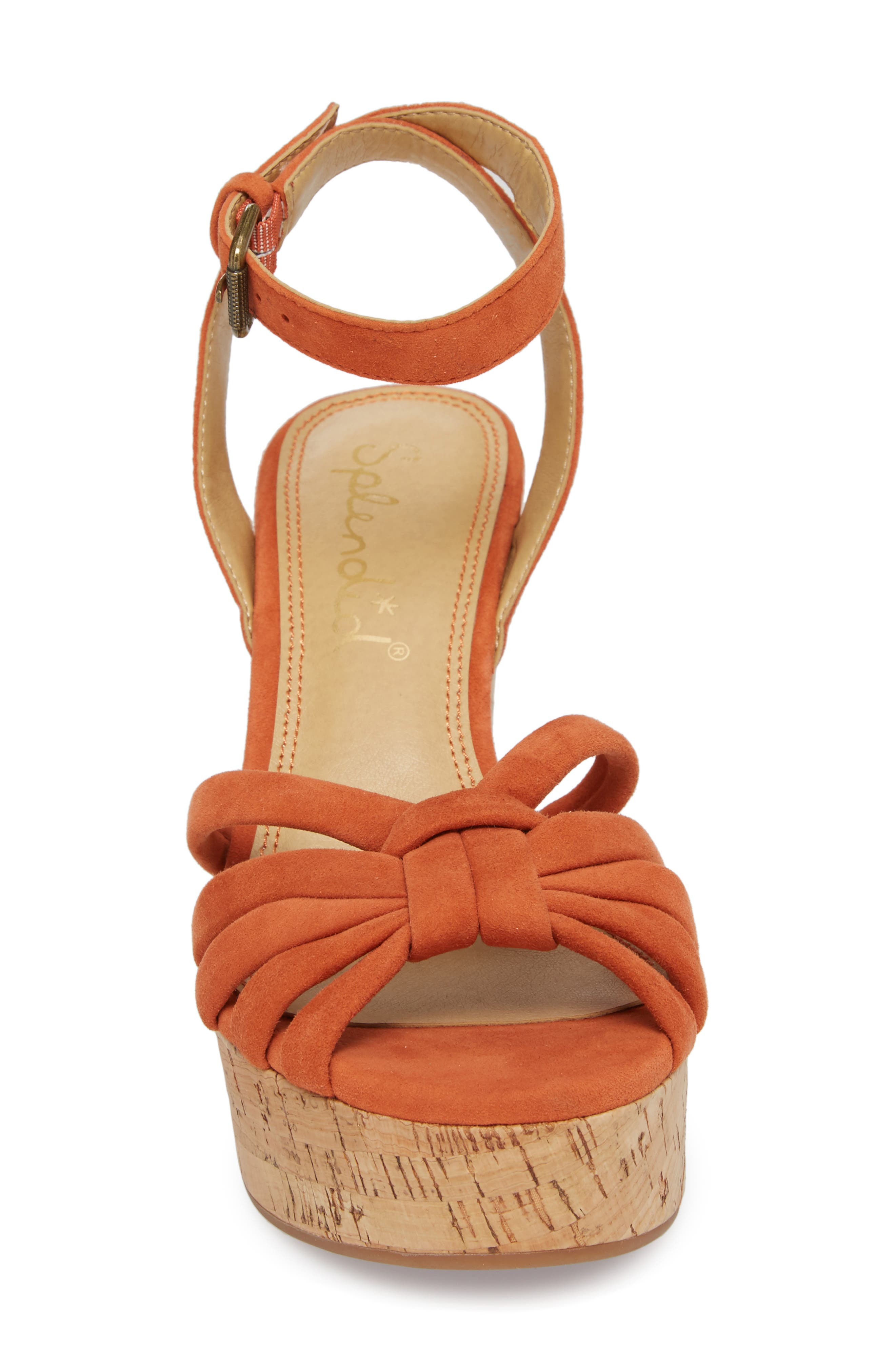 Fallon Wedge Sandal,                             Alternate thumbnail 5, color,                             Coral Suede
