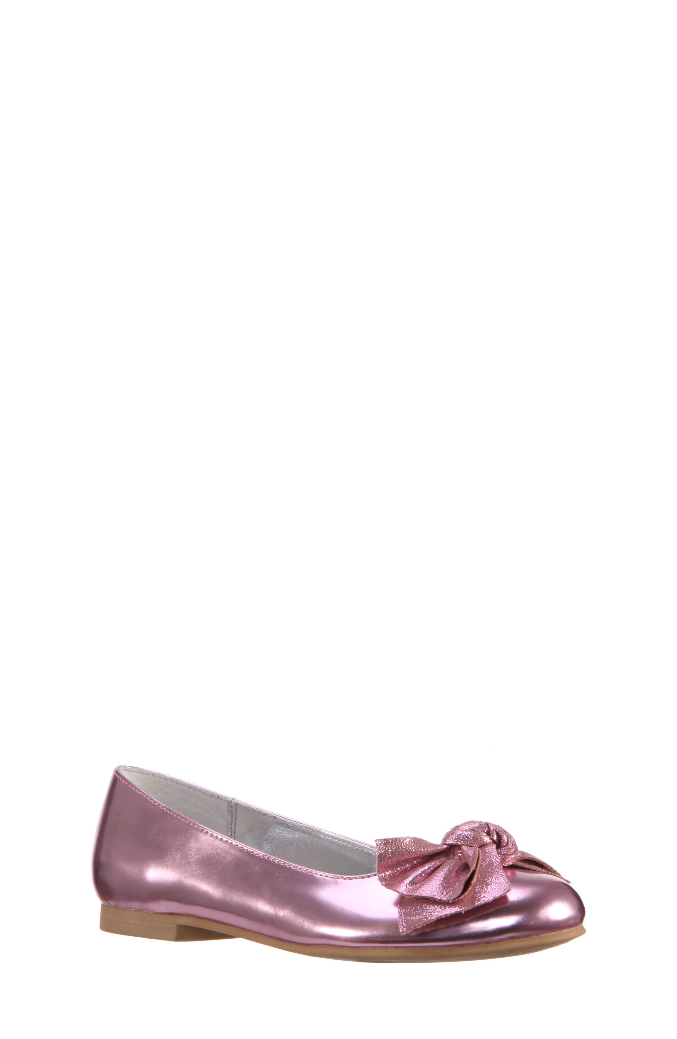 Katelyn Glitter Bow Metallic Ballet Flat,                             Main thumbnail 1, color,                             Pink Mirror Metallic