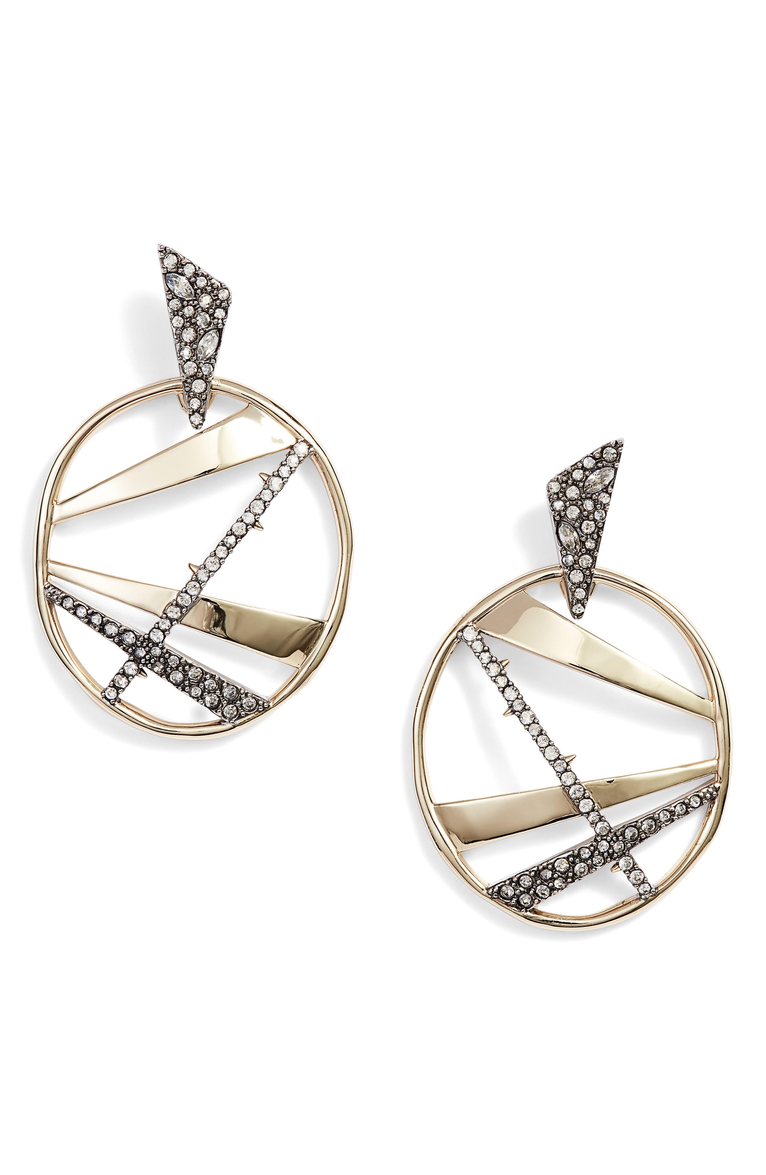 Large Crystal Encrusted Plaid Hoop Earrings,                             Main thumbnail 1, color,                             Gold/ Silver