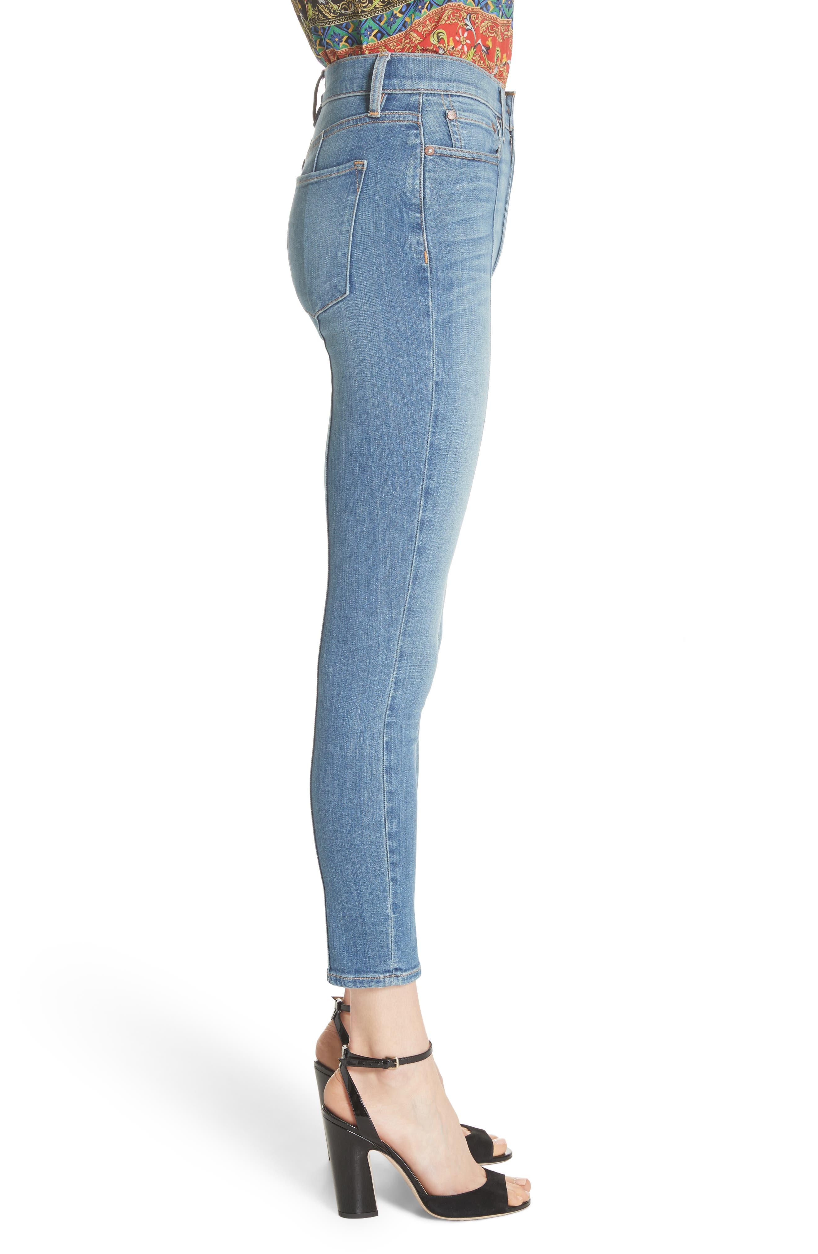 AO.LA Good High Waist Pintuck Skinny Jeans,                             Alternate thumbnail 3, color,                             Roadhouse Blues