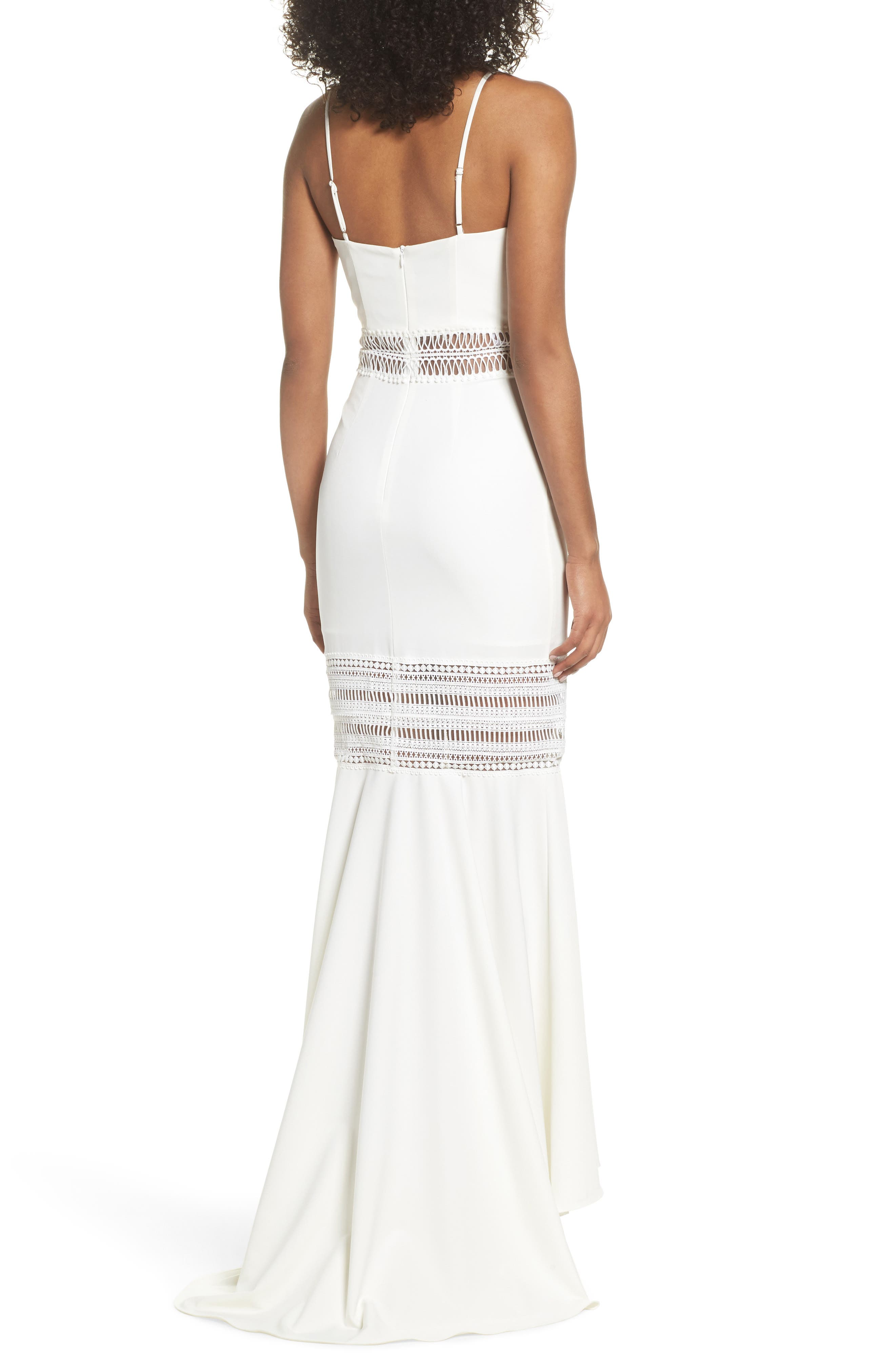 Clarity Openwork Inset Mermaid Gown,                             Alternate thumbnail 2, color,                             Ivory