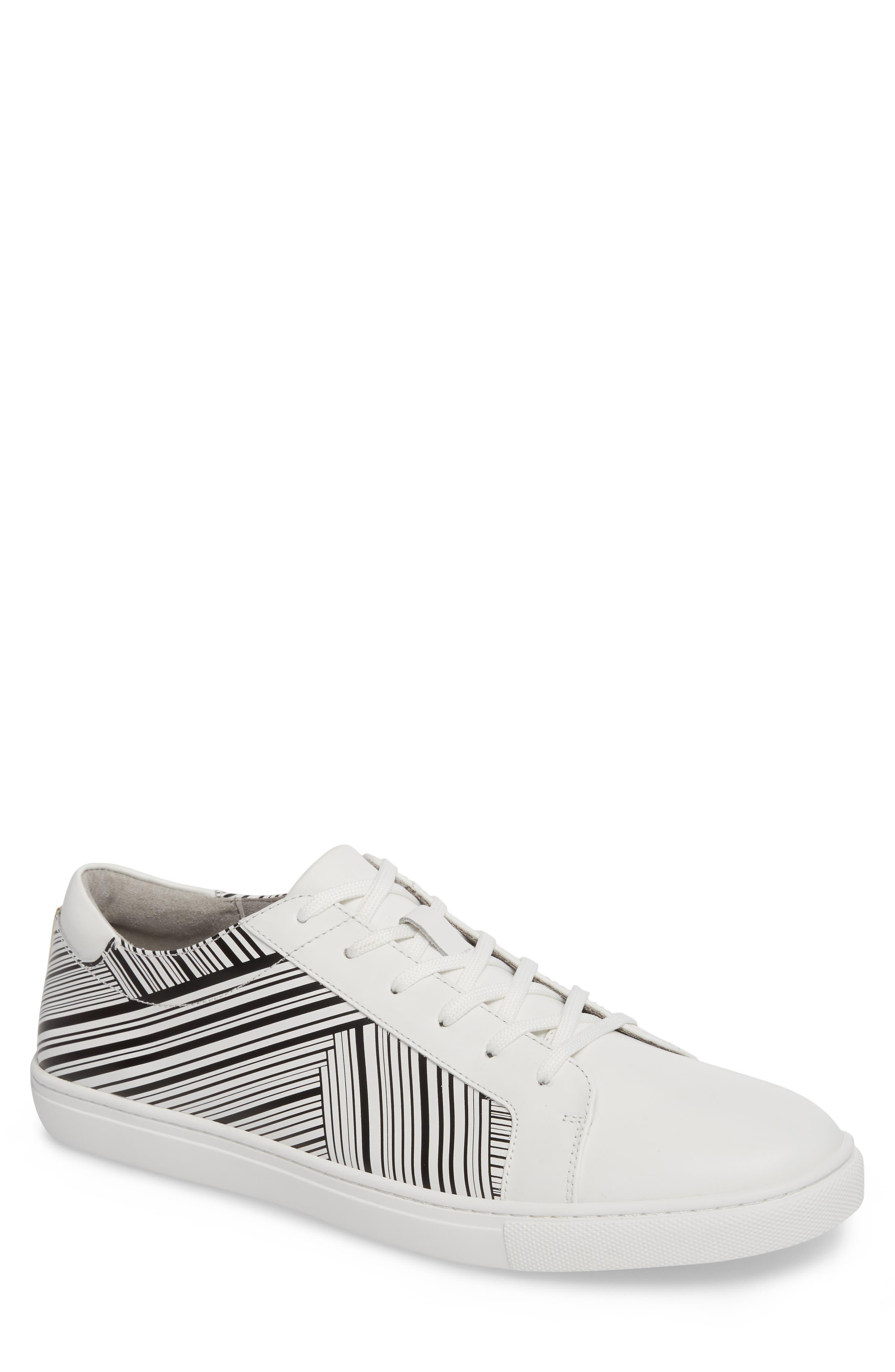 Kam Sneaker,                         Main,                         color, White/ Black Leather