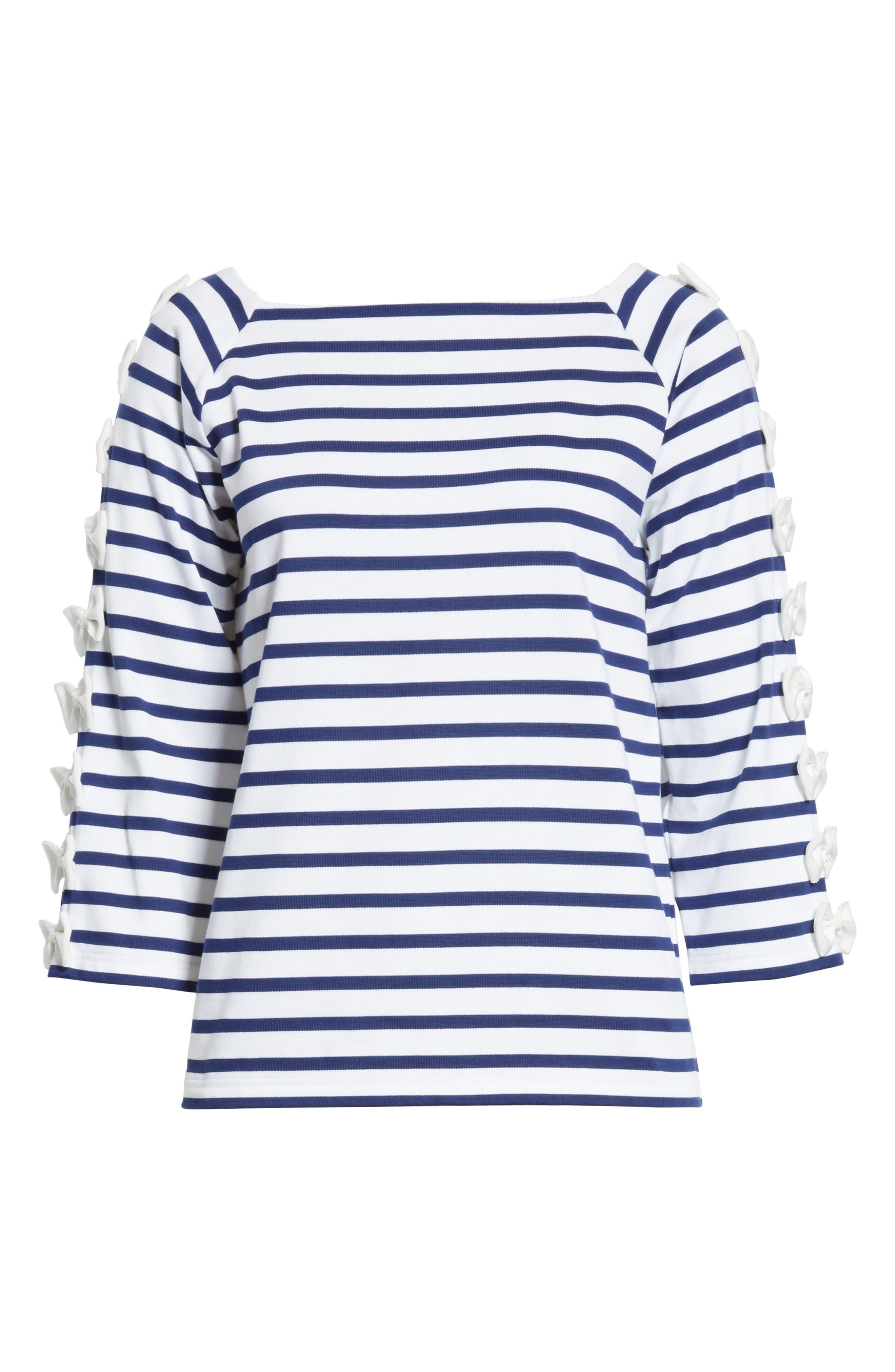 Bow Sleeve Stripe Tee,                             Alternate thumbnail 6, color,                             Blue