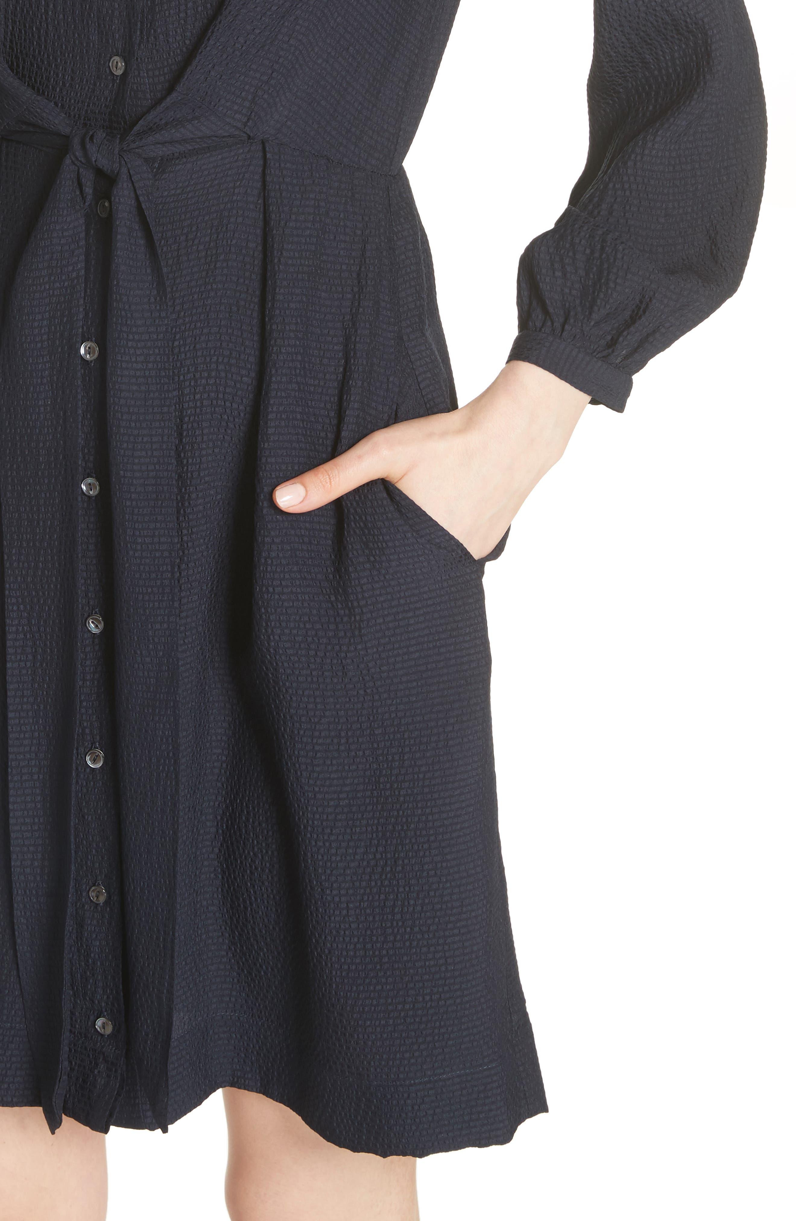 Tie Front Silk Shirtdress,                             Alternate thumbnail 4, color,                             Dark Navy