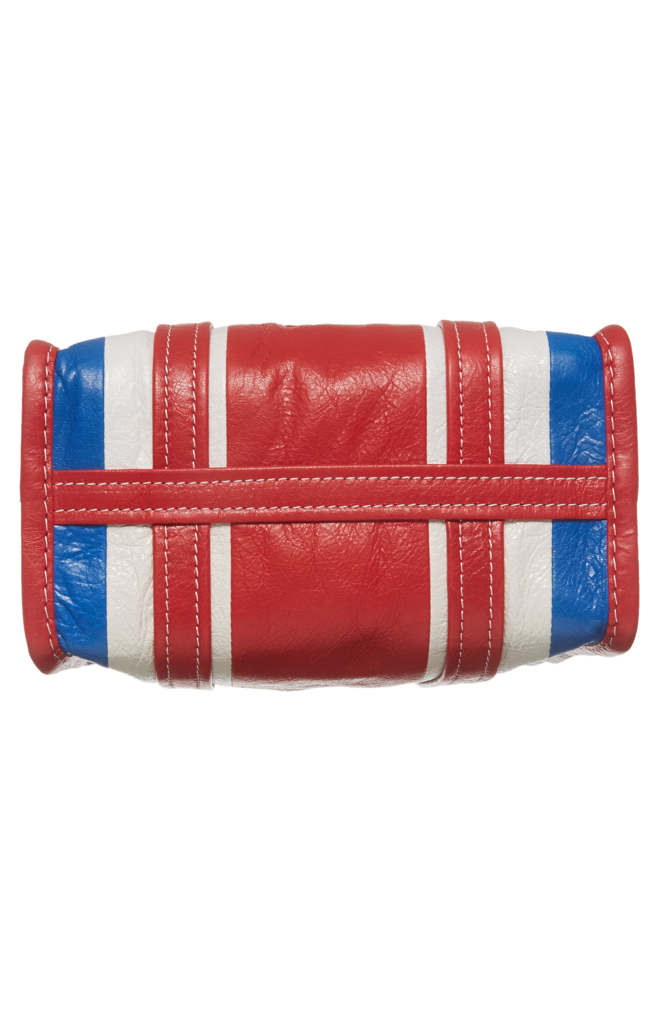 Extra Small Bazar Leather AJ Shopper,                             Alternate thumbnail 6, color,                             Blue/ Blanc/ Rouge