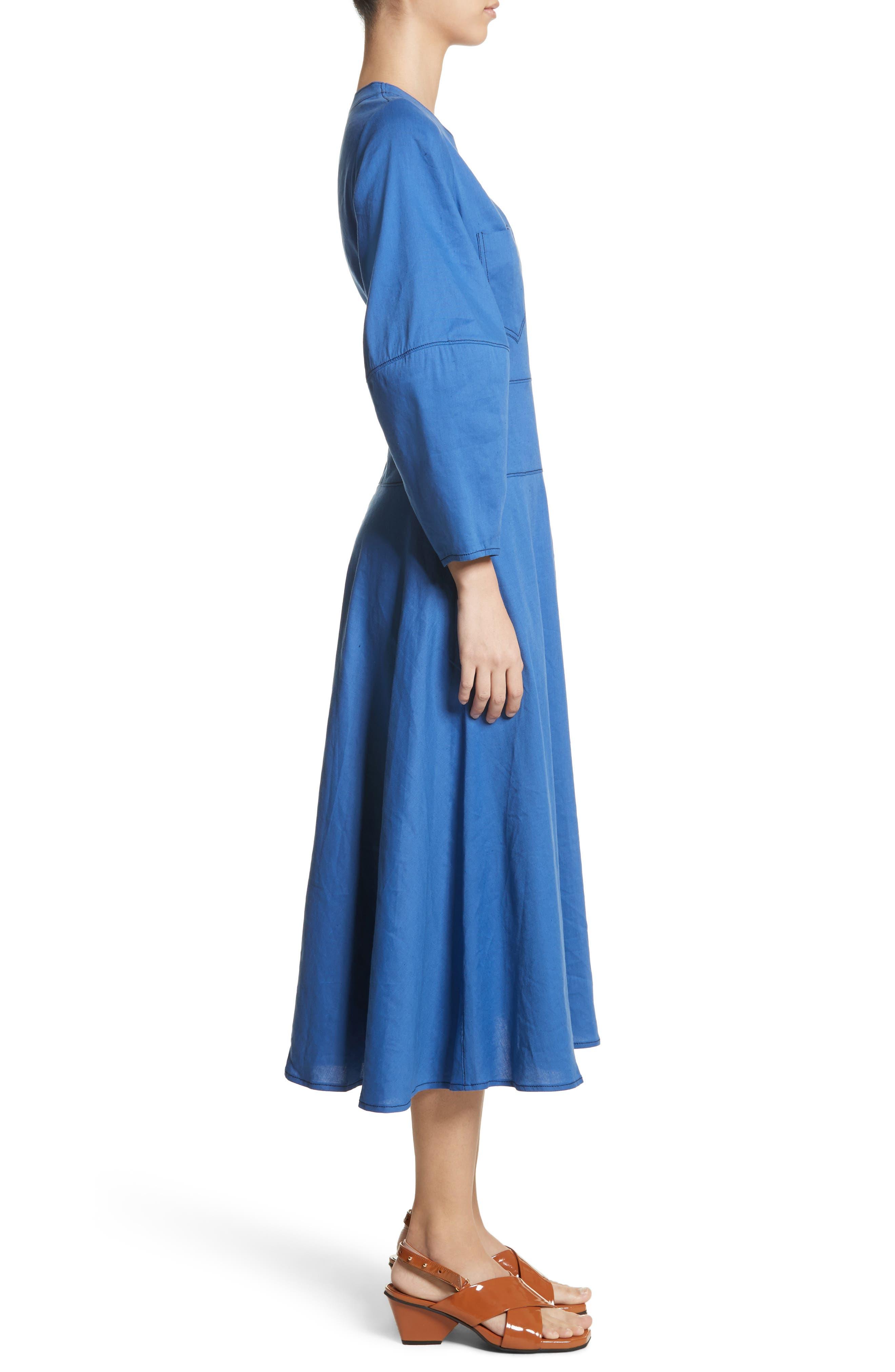 Michaela Linen Dress,                             Alternate thumbnail 3, color,                             Linen Blue